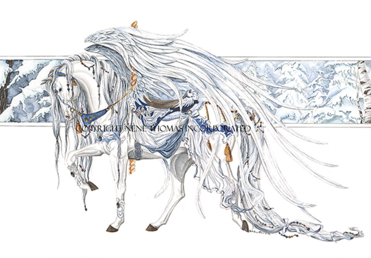 Carousel Horse Angel White