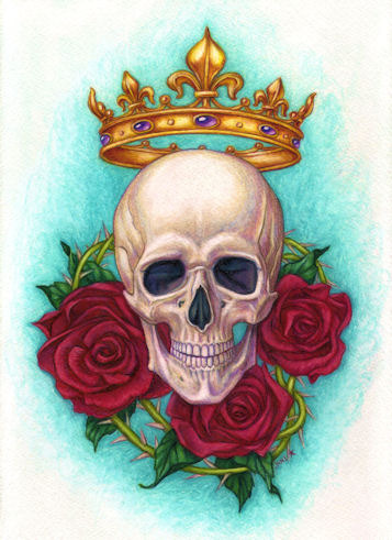 Crown Skull and Roses
