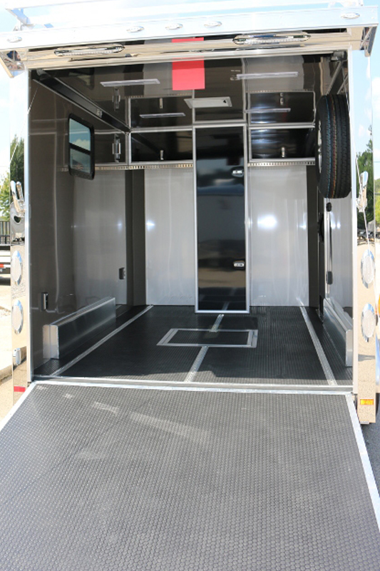 Attached trailer for wardrobe, stylist and model change room, with extra space for transporting photo equipment