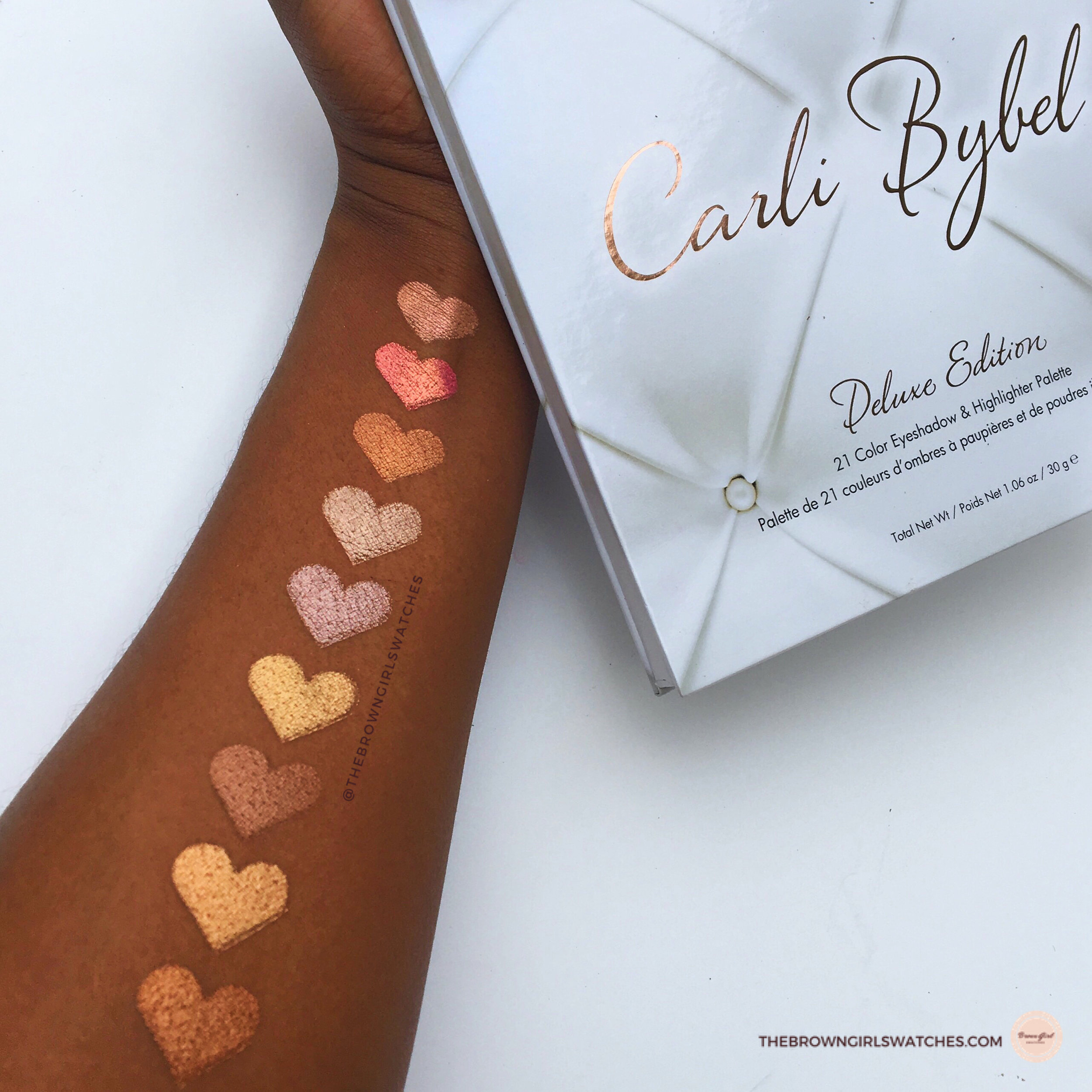 CARLI BYBEL PALETTE DELUXE EDITION SWATCHES ON BROWN SKIN