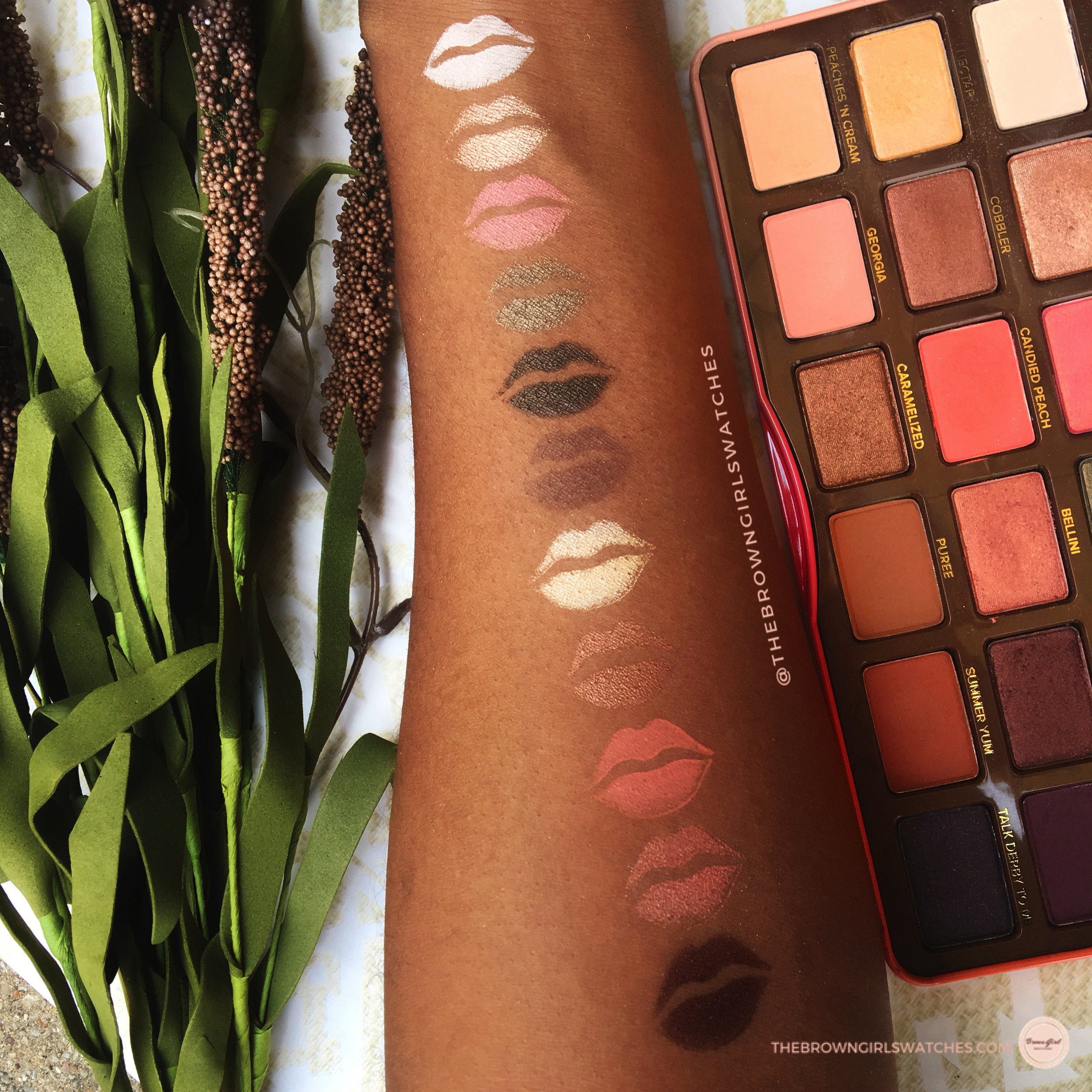 Too Faced Sweet Peach Palette Kiss Swatches on Brown Skin
