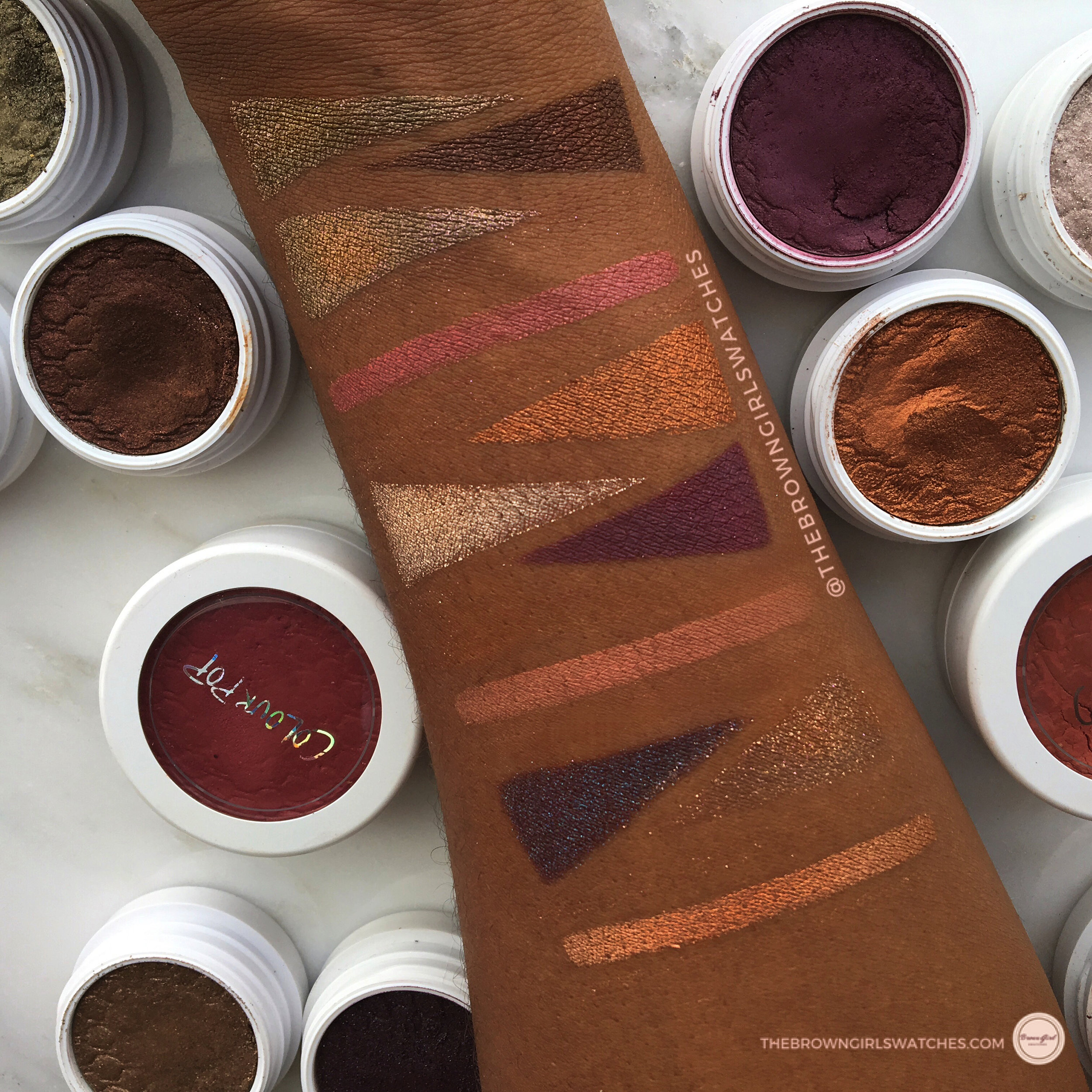 Swatches from top to bottom:HAMMERED, MOONING, SO QUICHE, CHEERIO, GAMEFACE, I HEART THIS, MOONING, FLUSH'D, BAE, NILLIONAIRE, and AVALON.