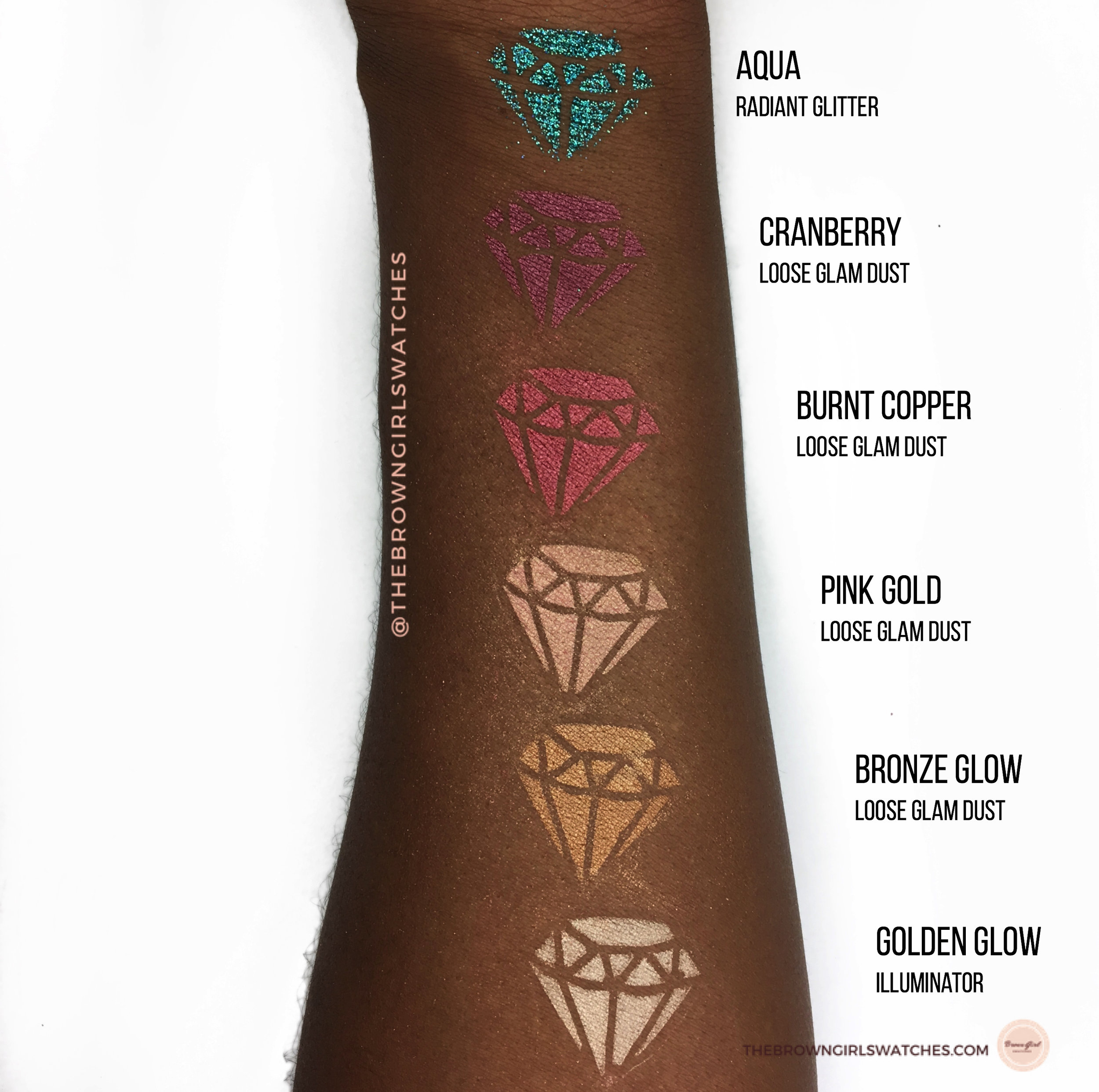 Swatches from Top to Bottom: Aqua, Cranberry, Burnt Copper, Pink Gold, Bronze Glow,and Golden Glow