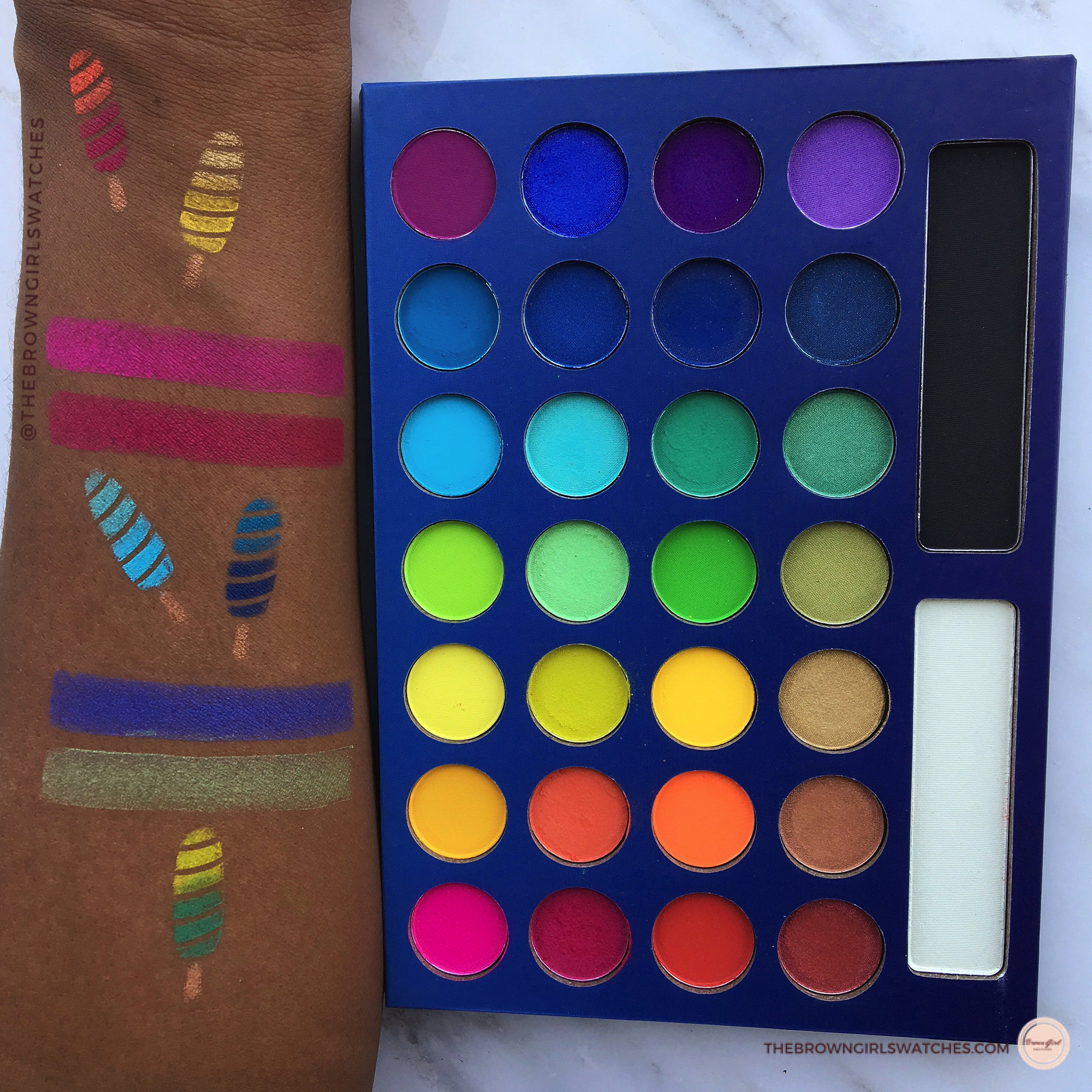 Swatches of the Take Me To Brazil Palette by BH Cosmetics