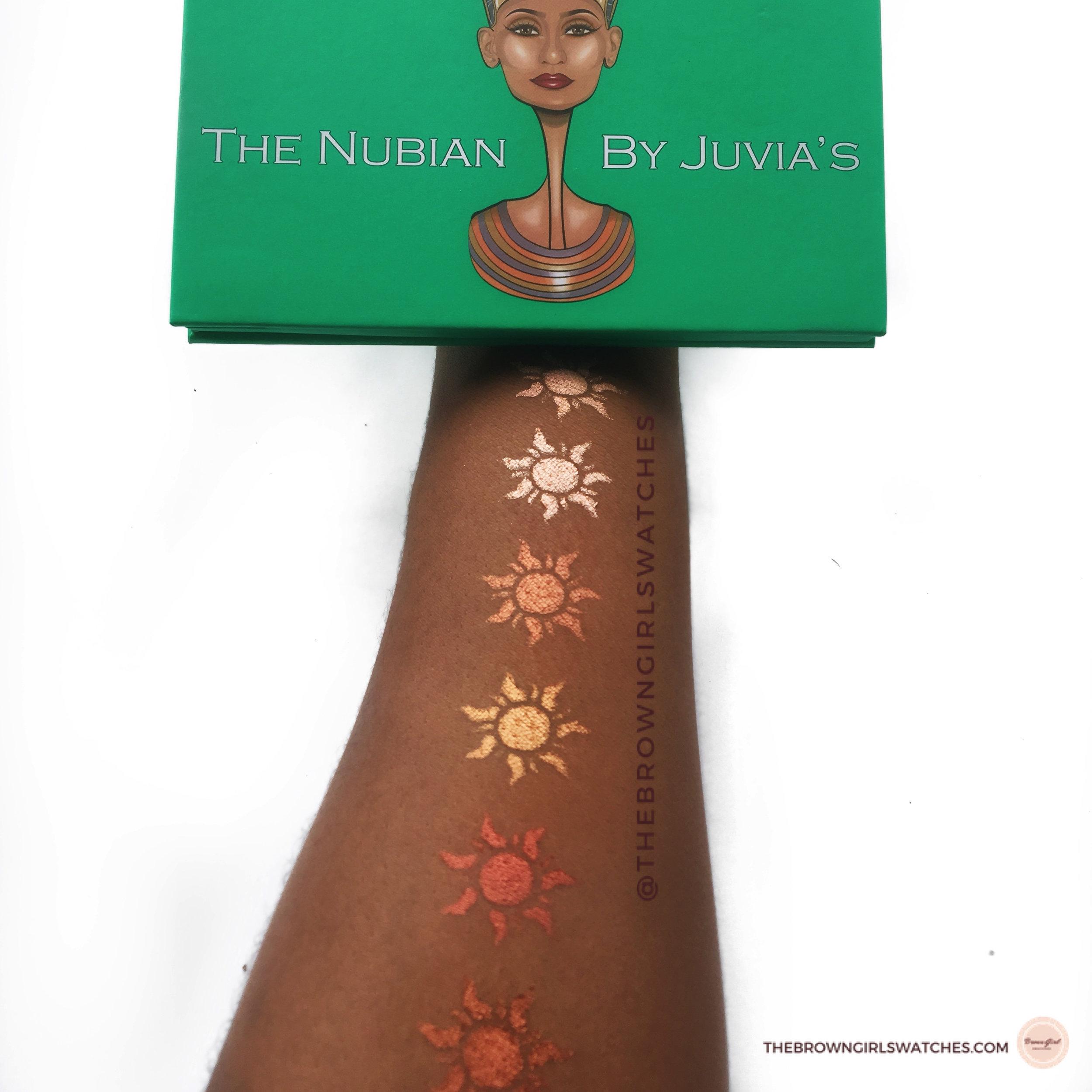 Nubian 1 Palette Swatches (NC50 skin)