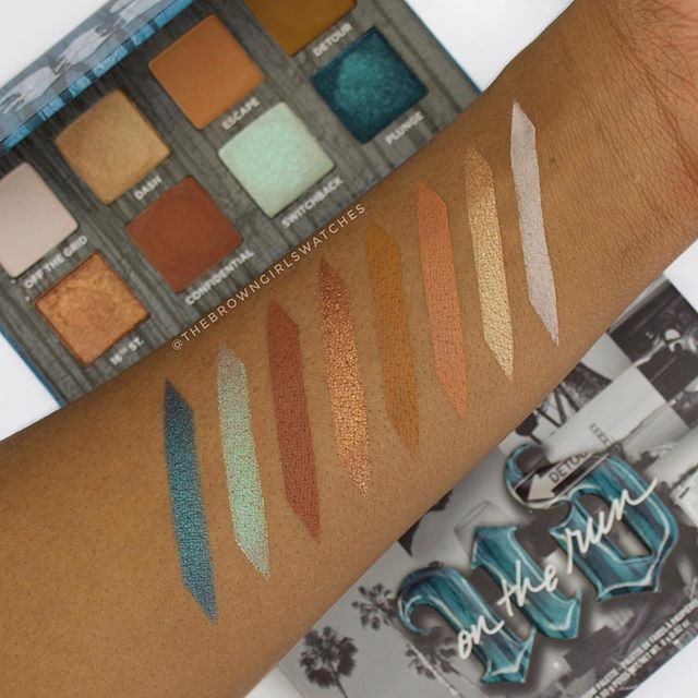 "#SWATCHES of ""DETOUR"" by @urbandecaycosmetics. This is one of three on On The Run Mini Eyeshadow Palettes that retail for $25 😍. Pigment on point, bomb blendability, and travel friendly (THEY HAVE A MIRROR TOO)! Do we love? & if you already copped definitely let us know how you like it 👇🏿👇🏾👇🏽👇🏼! Xo #TheBrowngirlswatches #UrbanDecay @sephora #sephorasquad #swatchesforwoc #melaninmakeup"