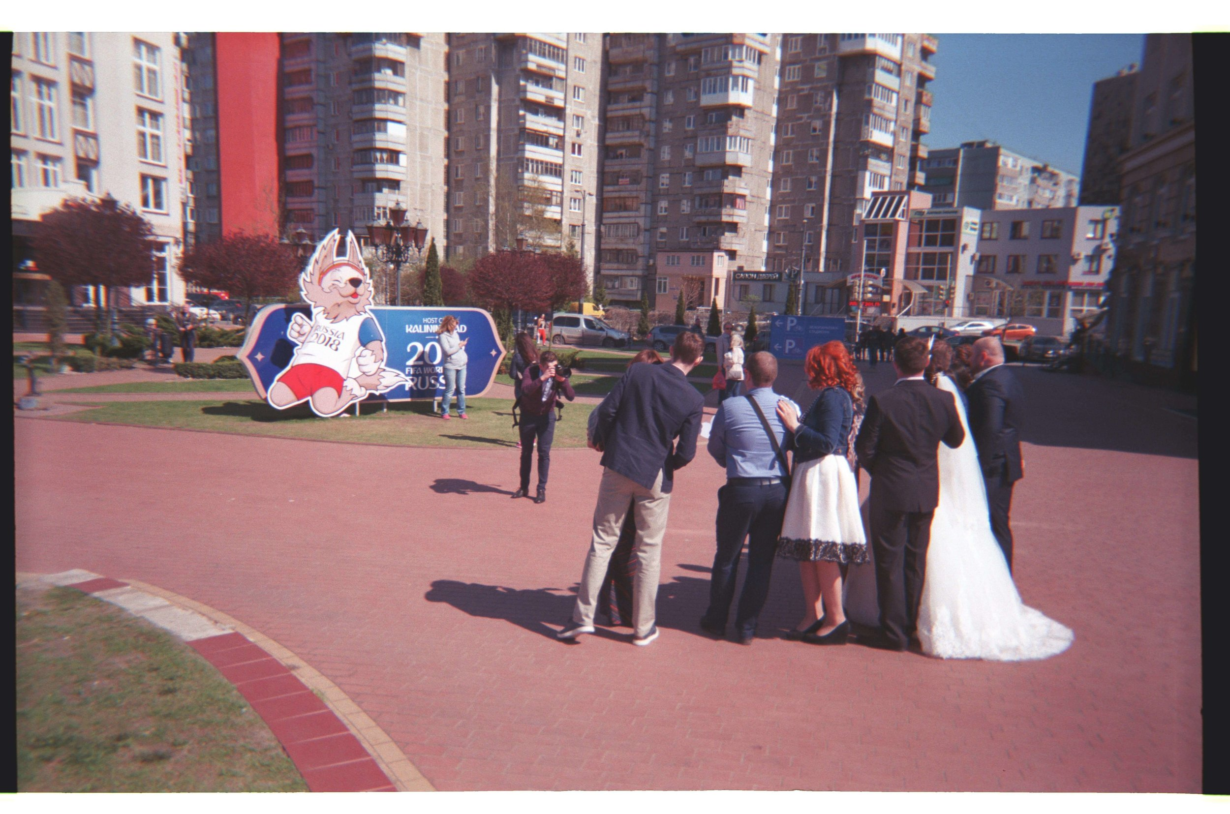 A wedding party being photographed in Kaliningrad.