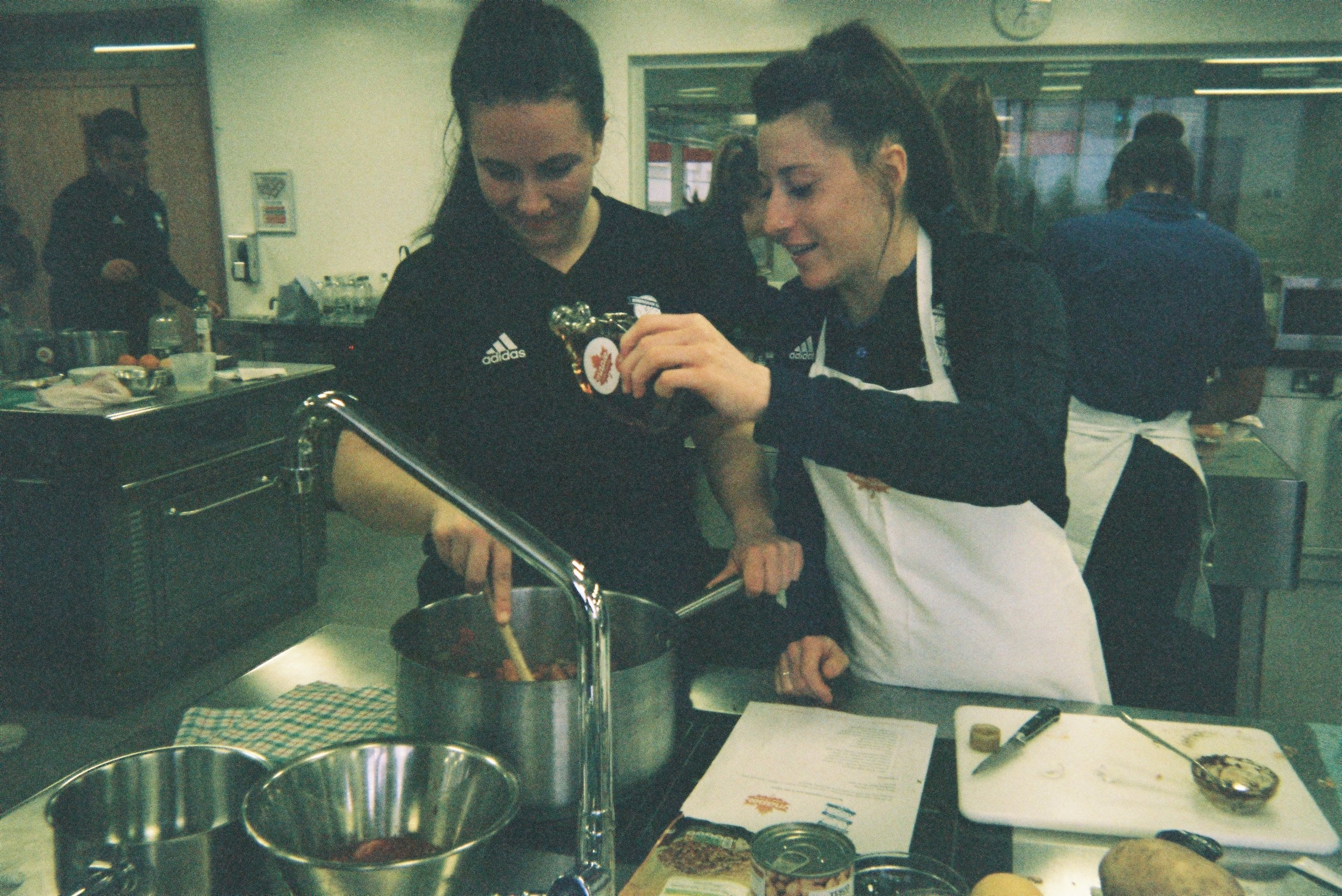 Maple (our main shirt sponsor) regularly holds cooking sessions for the team. Sponsors are really important in women's football and to do something off the pitch with the team is quite nice. It helps to increase team bonding and educates the younger girls on healthy nutrition.