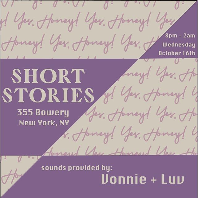 Excited to pop things off a little early this week!!⚡️ We're at @shortstories tom and we're ready to turn it up! Our HDIC @itsvonniemack & very special guest @luvl1sa will be on the decks. Warm vibrations & a good time. See you there!!💜 8pm-2am.