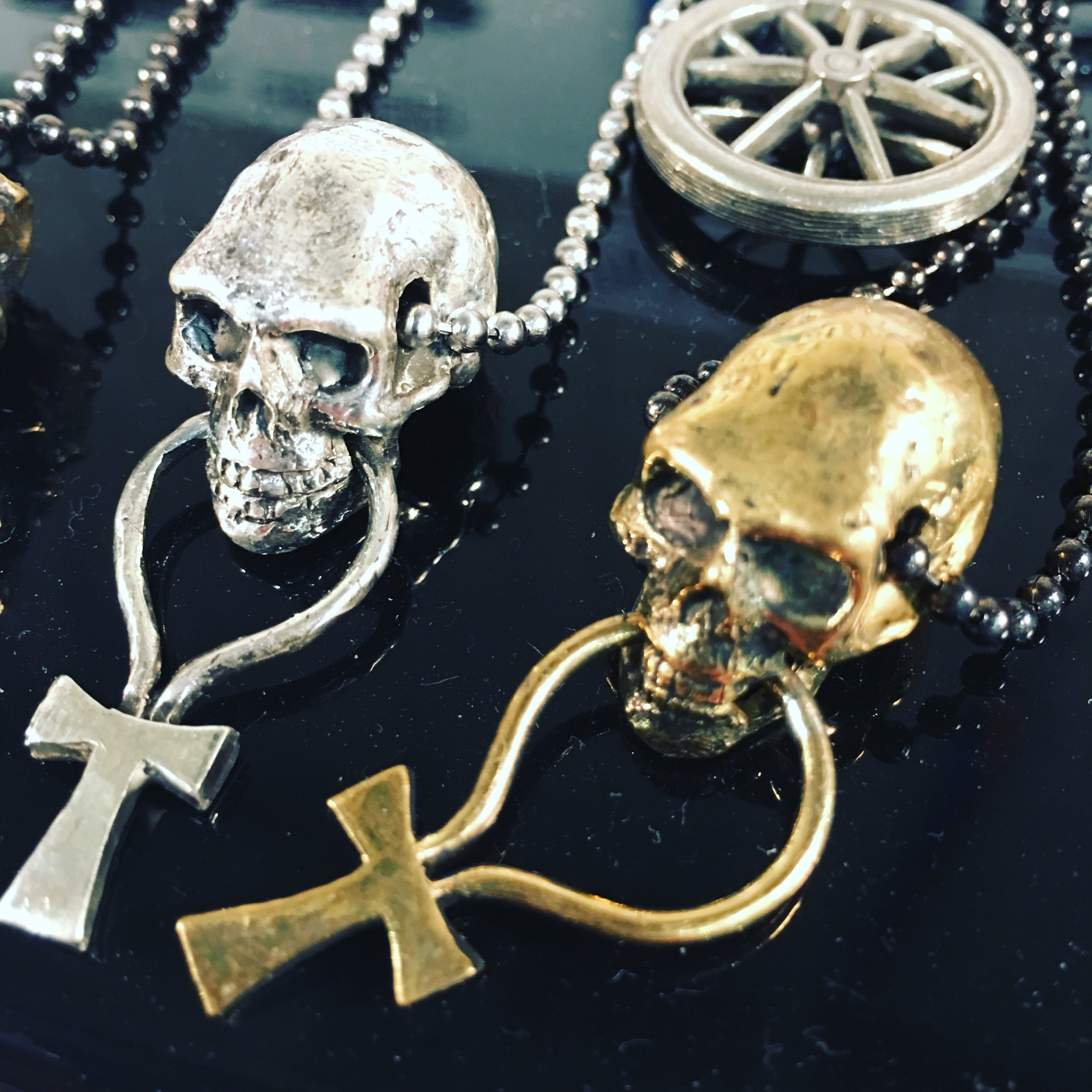 Skull Onk Pendant Necklace, Sterling Silver or Bronze with Chain