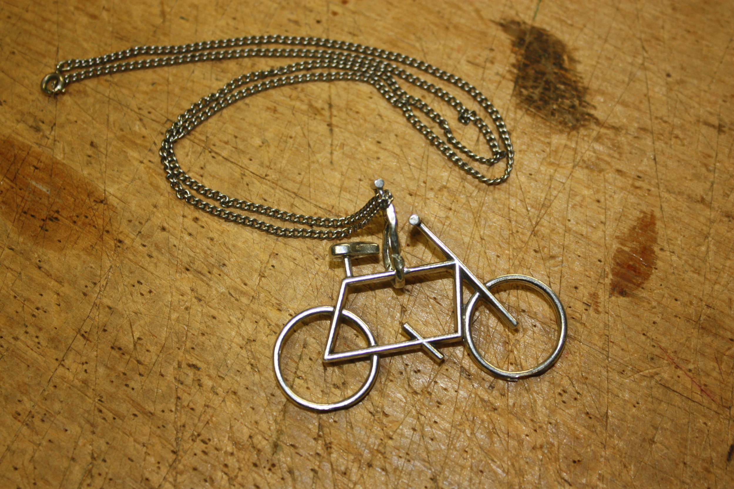 Free Ride Bike Pendant - Pewter on stainless chain. MSRP $60