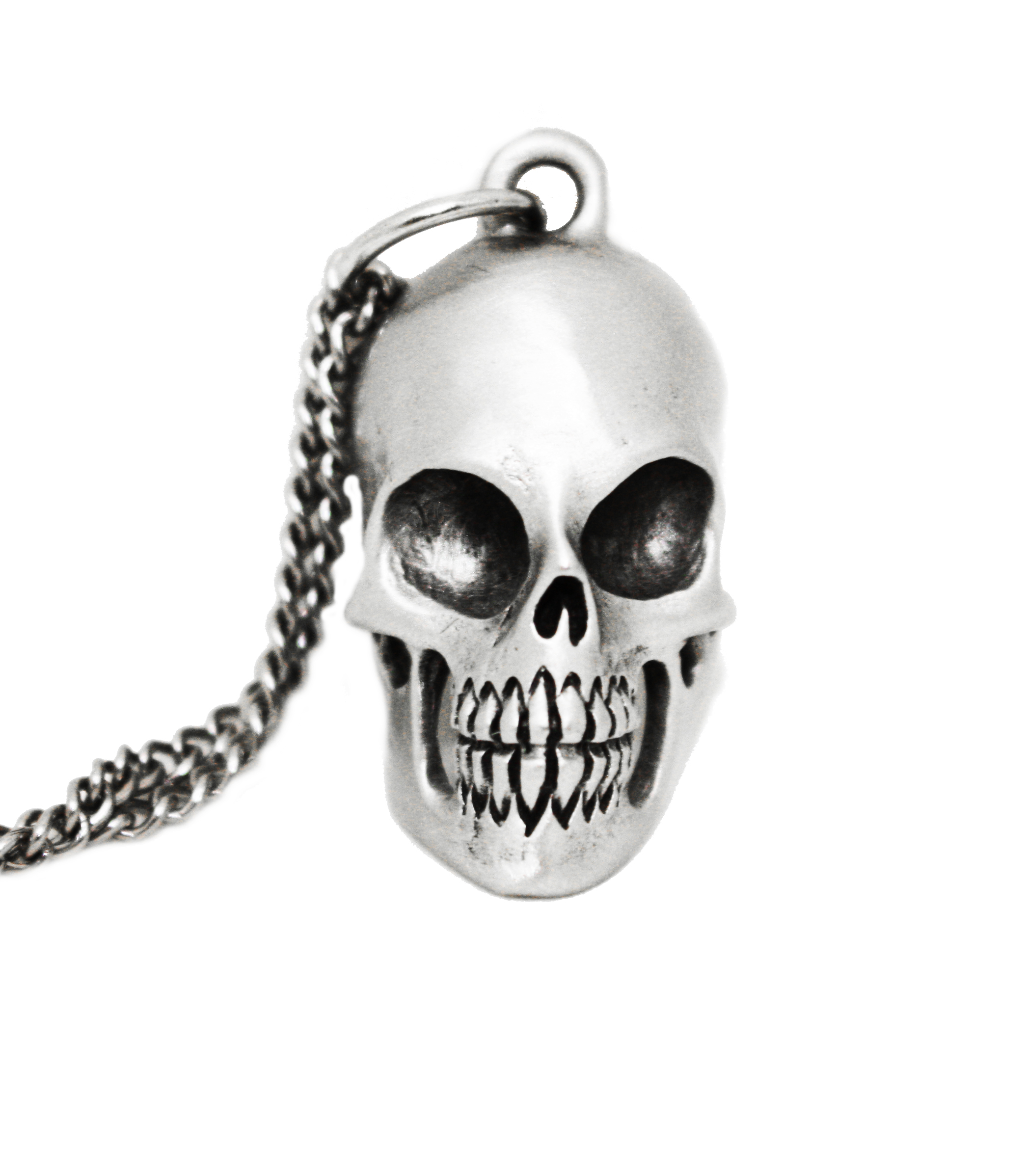 Business Skull Pendant - Pewter on stainless chain. MSRP $25