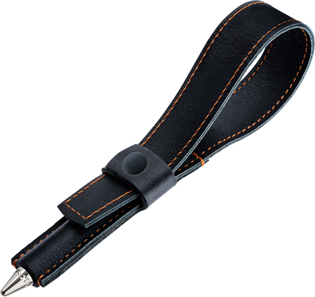 Large Black leather loop with walnut wood pen. - Pocket Sized storage for easy carrying.MSRP $49.95