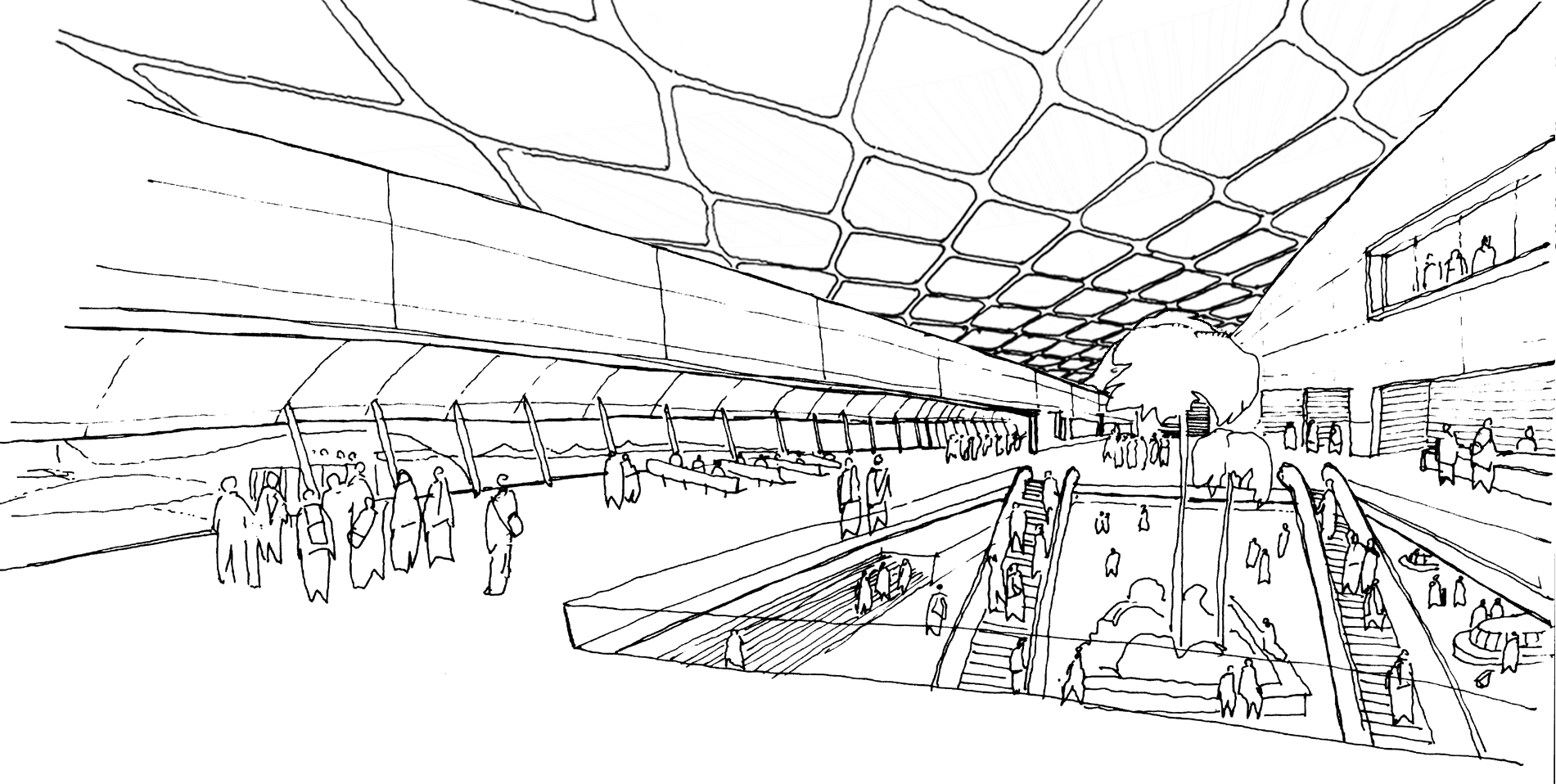 Shanghai Hongqiao Airport Masterplan Terminal 2 Concept Concourse 2005