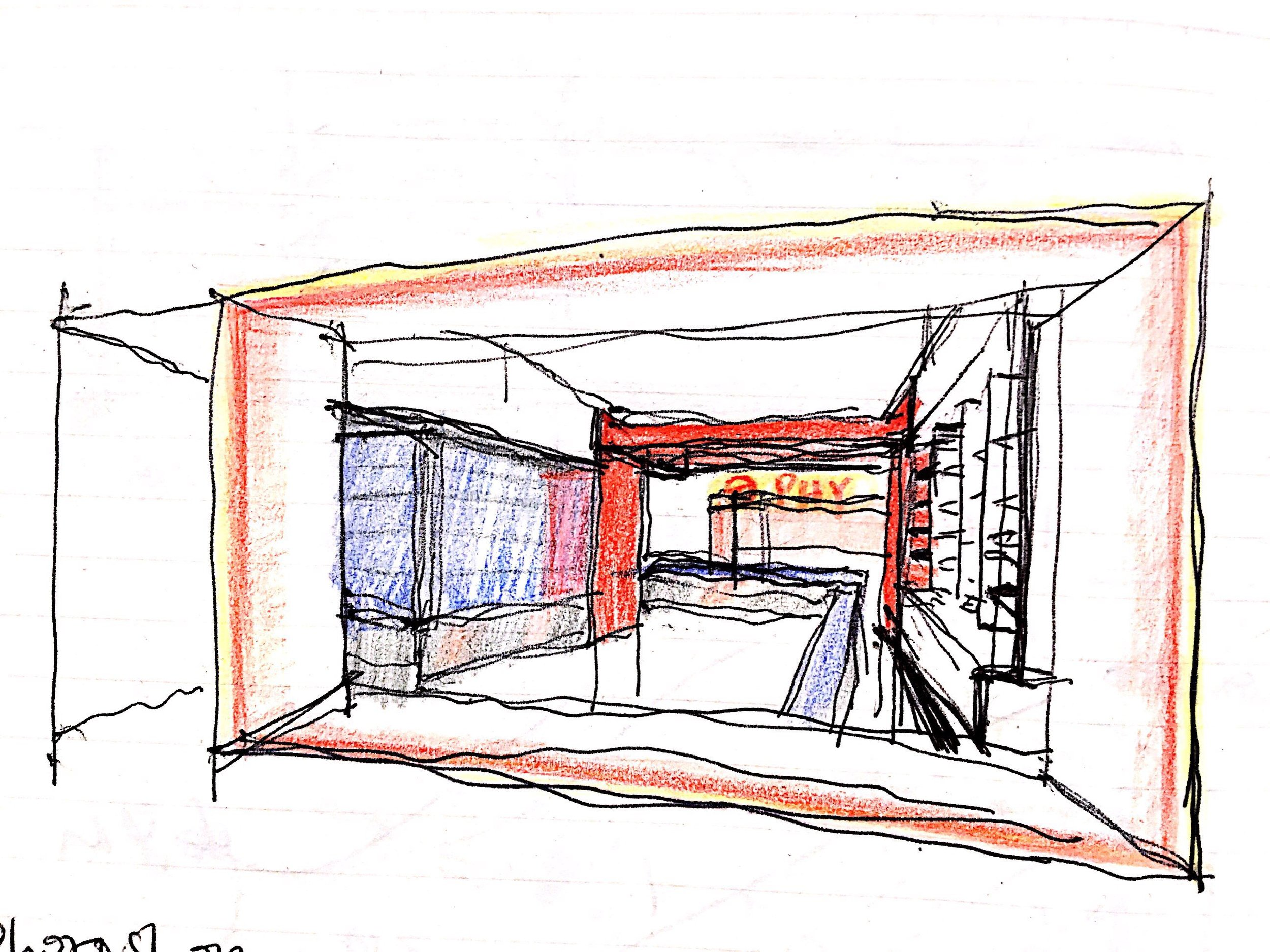 Sketch - frame behind frame from shop window to arch leads people's view to the depth of shop