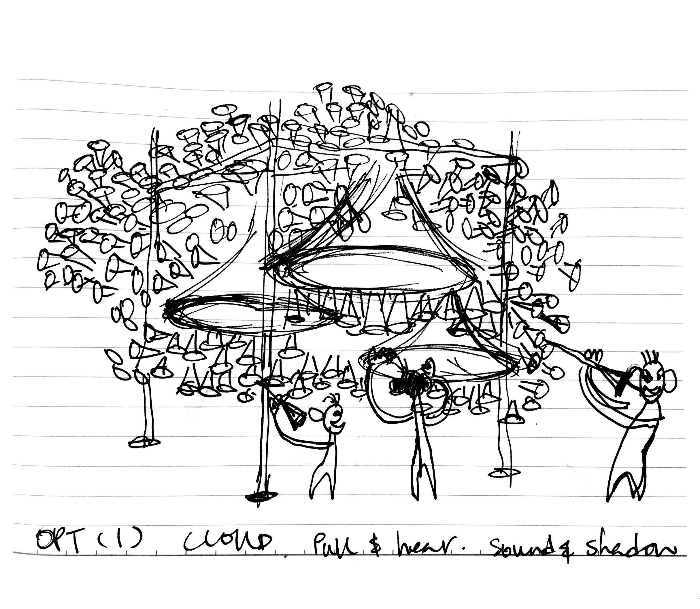Sketch for ' Trumpet Cloud'  installation - pull to hear, sound and shadow  Concept by Studio Lux