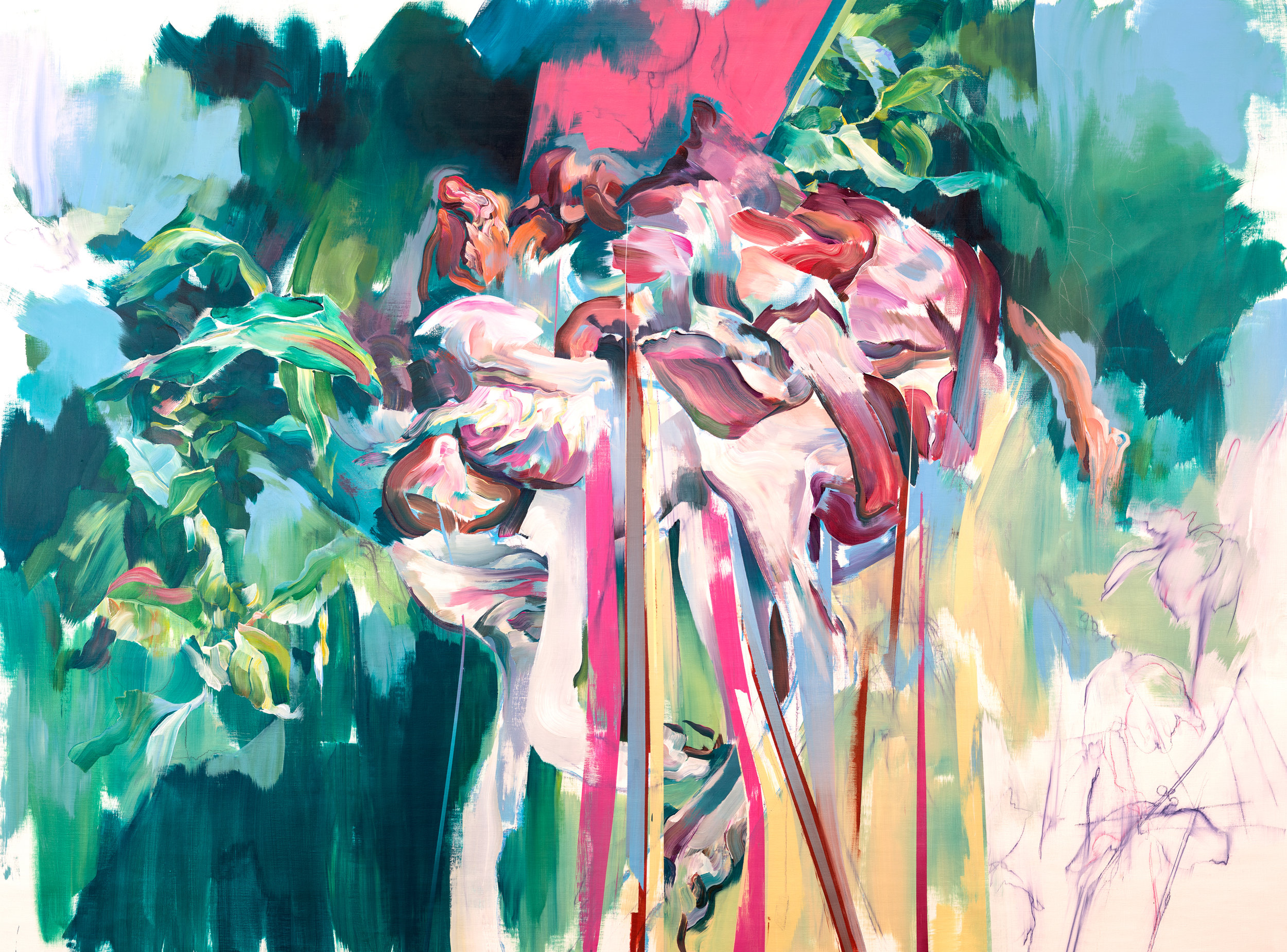 HERMANN MEJIA   Hanging , Acrylic on Canvas, 165 x 218 cm, 2016