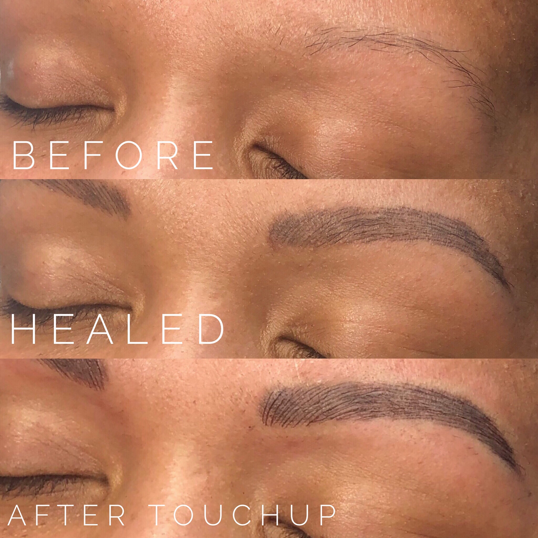 - Microblading is a 2 step procedure, meaning a 30-90 day touch-up is required to be able to build you the best brow. At touchup we will refine the initial strokes created, adjust color and shape if needed and build density to the brow. We can not stress enough the importance of a touch-up and urge clients to not skip them. For brows that have sparse hair the touchup is where your brows really come to life since its the time where we can give you the density and fullness it needs while still keeping it natural looking.