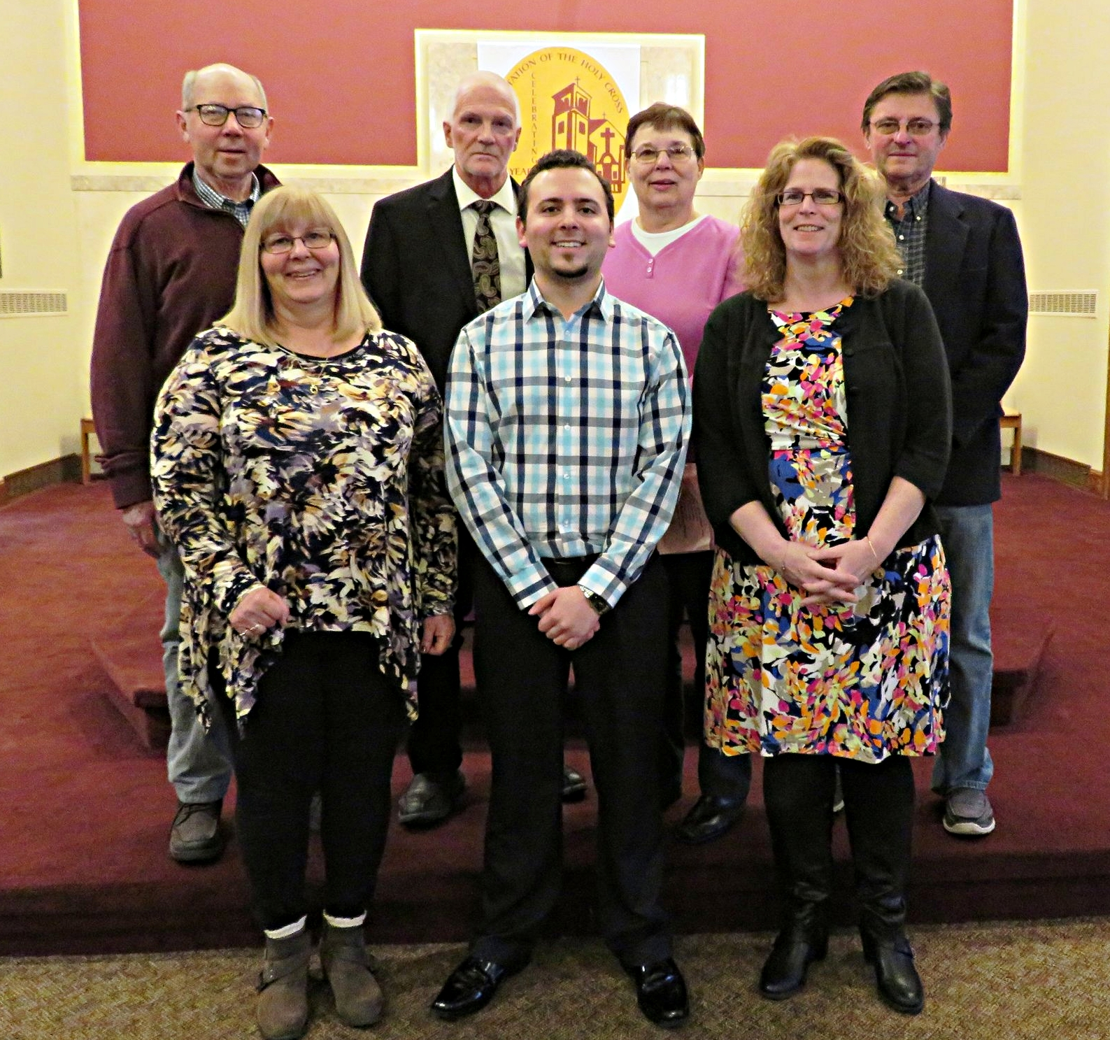 Pastoral Council - Pictured first row L-R: Joan Cunard, Dominick Costantino Jr., and Diane Fitzgibbon.                       Second row L-R: Frank Phillips, Barry Kaminski, Ann Williams, and Frank Sokola. Missing from photo: Susan PointekThe members of this council are appointed by the Pastor. They work on goals and visioning for the future and focus on the areas of WORD, WORSHIP, COMMUNITY, and SERVICE.