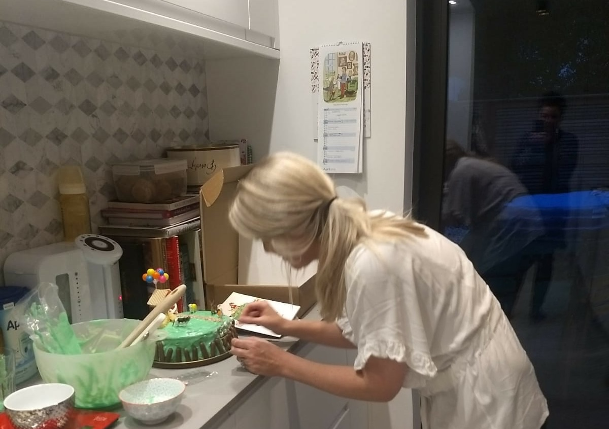 Here I am , putting the finishing touches to Rupert's First Birthday cake....