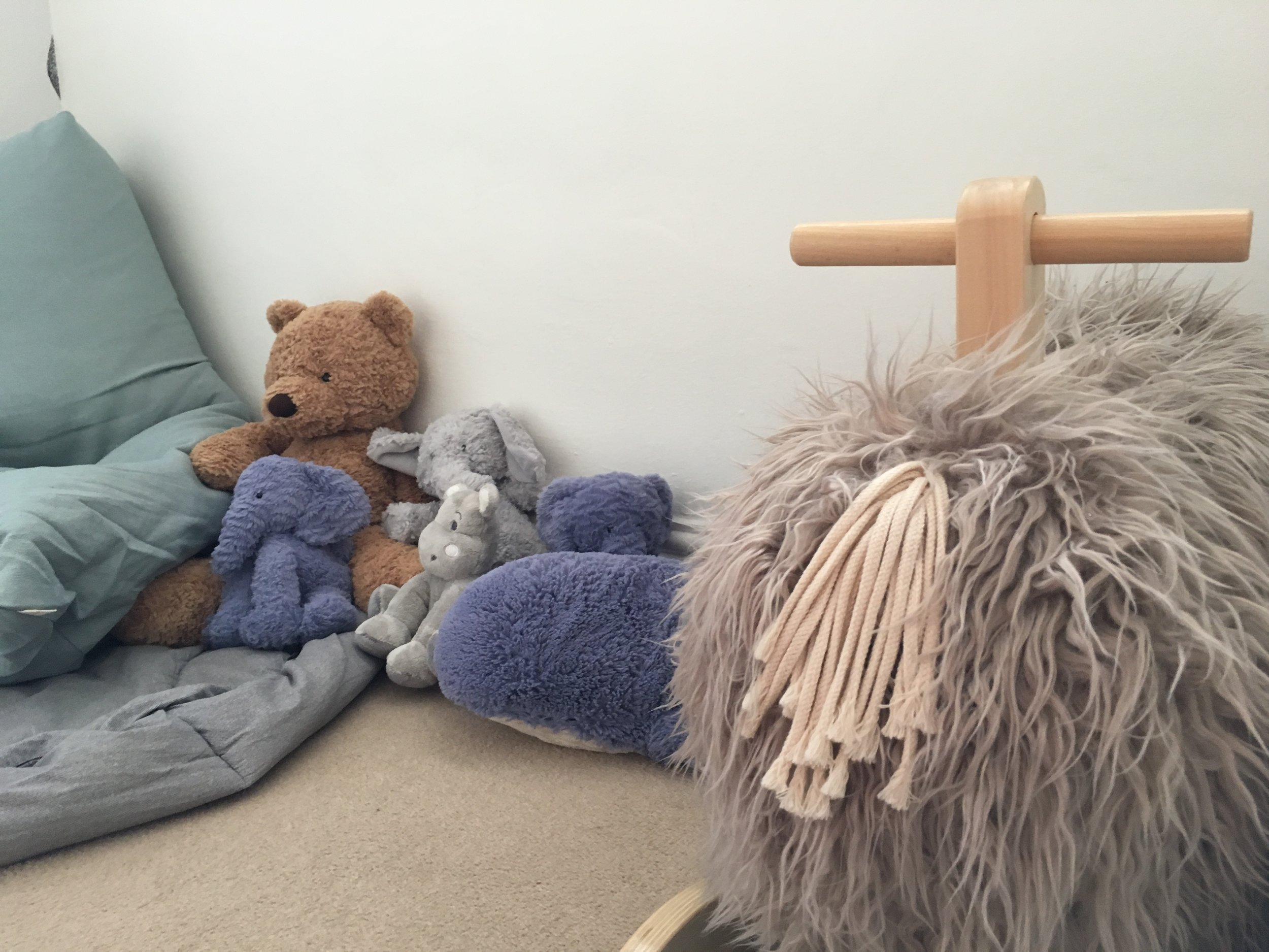 we decided to get a lovely cozy collection of animal toys for ruperts bedroom including this very cute Wooly Mamouth!