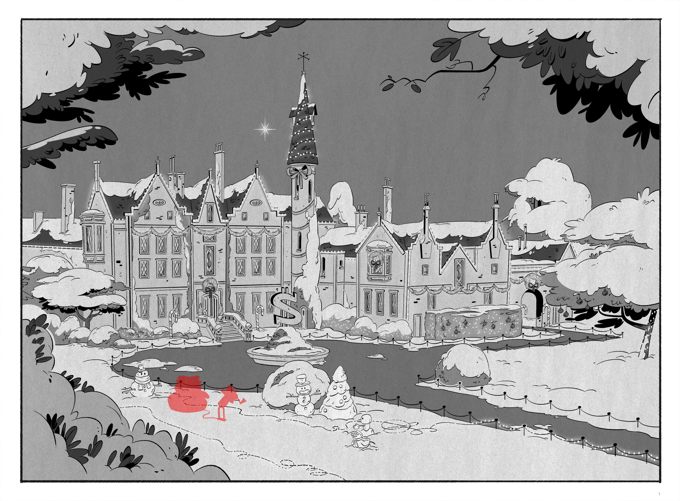 From Episode 6,  Last Christmas!  This is the present day mansion. We designed multiple versions of the mansion's Christmas decorations to indicate a shift in time since the characters are time traveling in this episode.