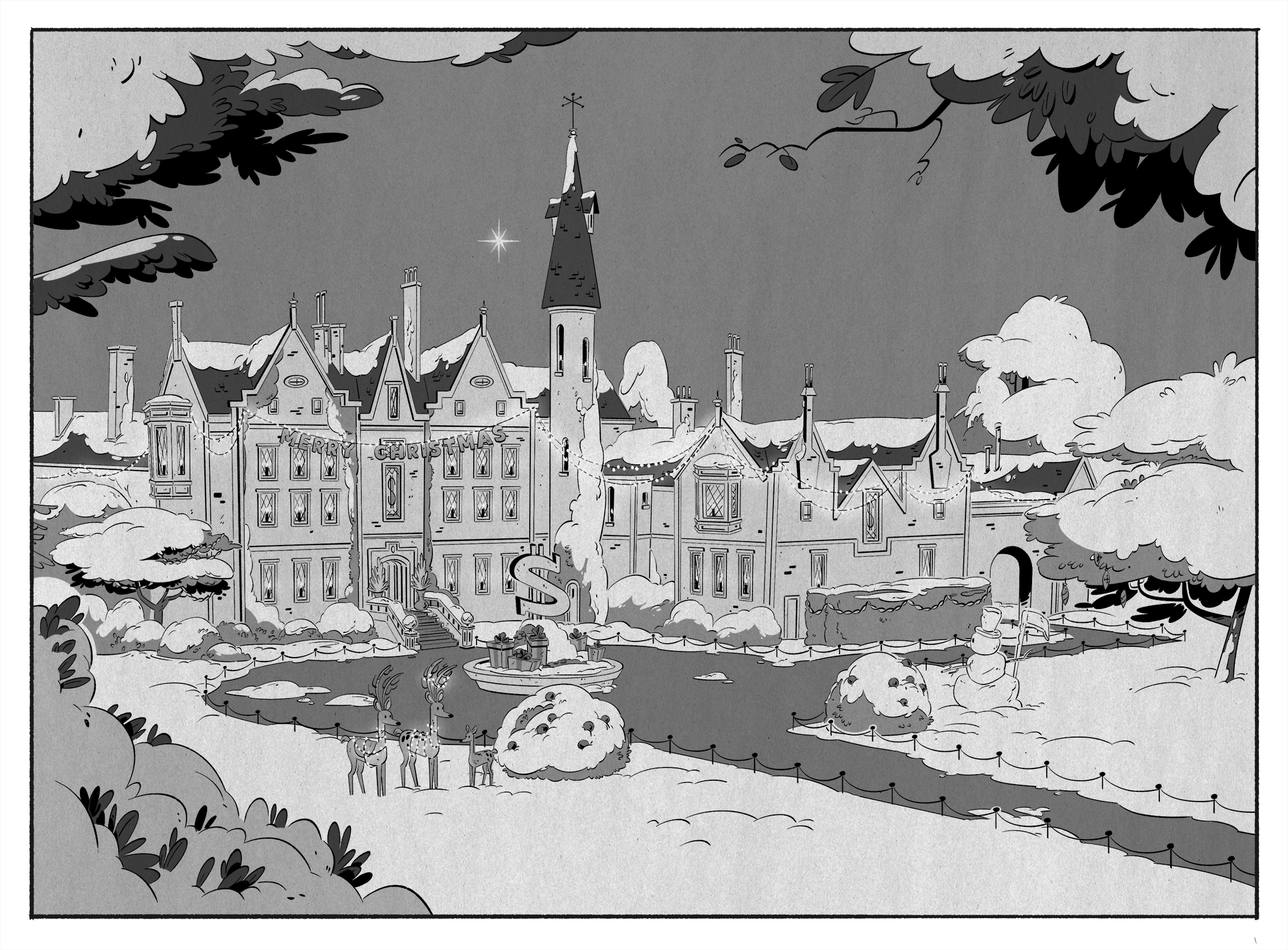 From Episode 6,  Last Christmas!  This is the mansion in the 60's. We designed multiple versions of the mansion's Christmas decorations to indicate a shift in time since the characters are time traveling in this episode.