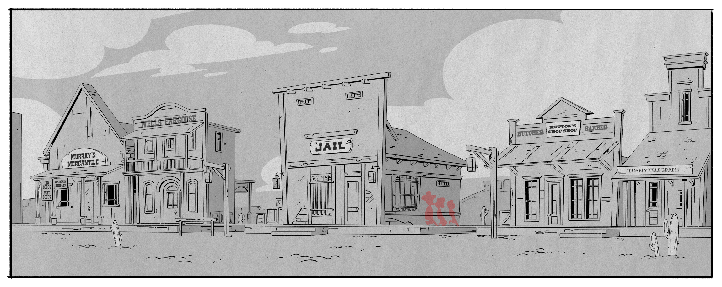 From Episode 9,  The Outlaw Scrooge McDuck!  Fun fact: I snuck my cat's name in one of the store signs. I had fantastic help from the writers on coming up with names for the other stores.
