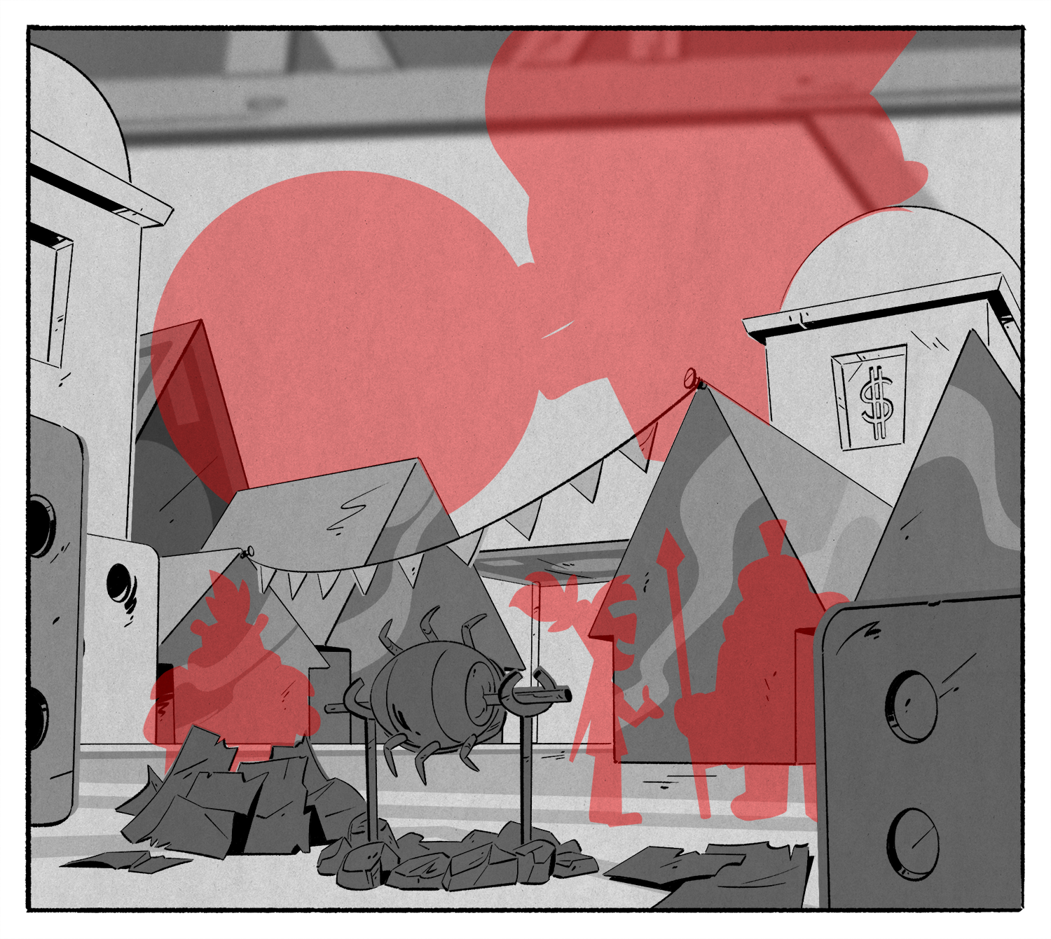 From Episode 1,  The Most Dangerous Game… Night!  The characters ended up making a little teeny town out of the board game pieces. It was fun thinking this through, like using shreds of the board game money as kindle for fire.