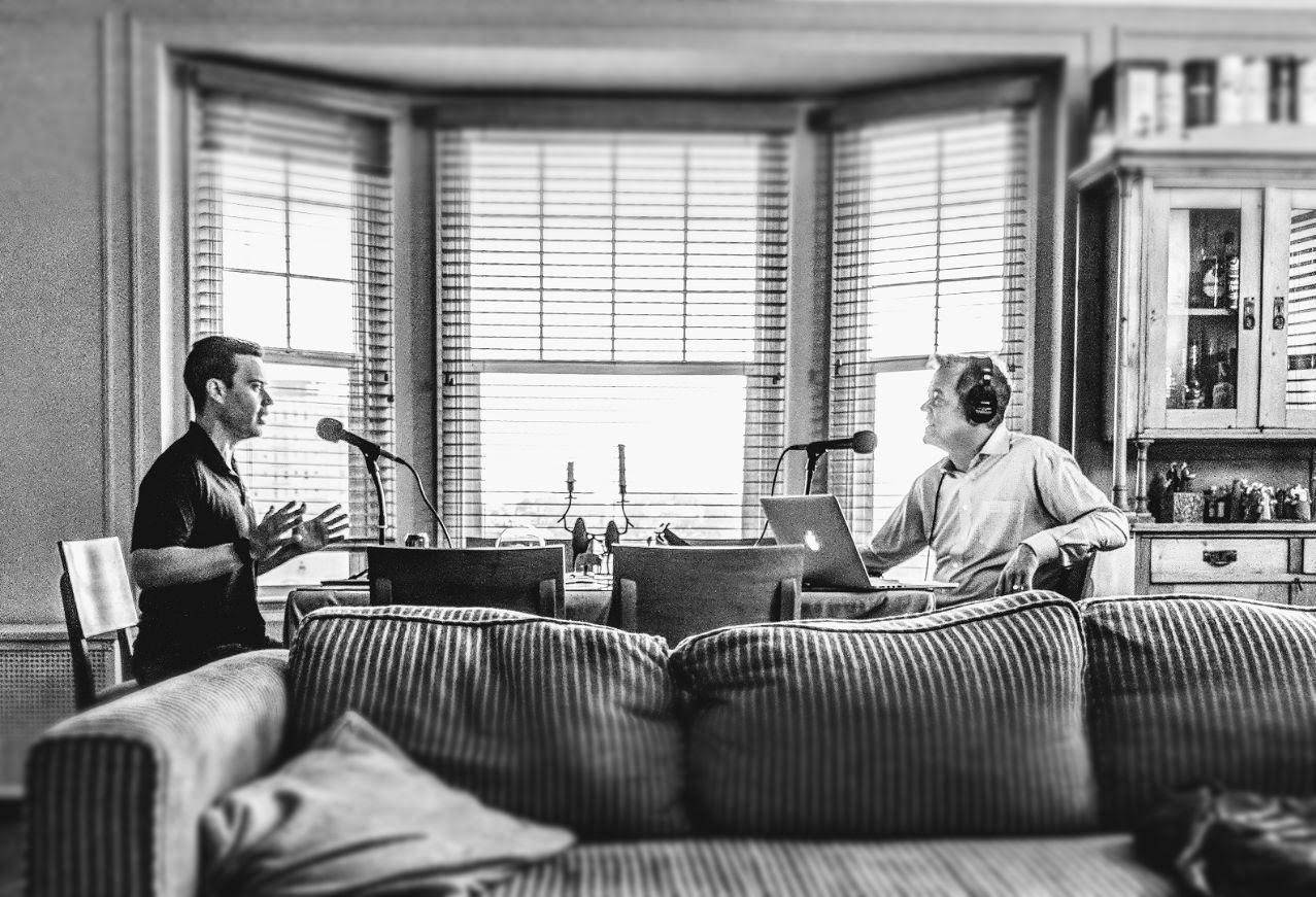 Jordan and me, conversing in my living room.