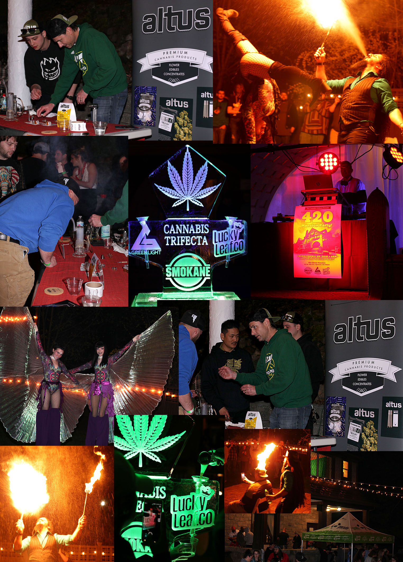Altus hosting a dab bar at The 420 Mansion Party for the Spokane Cannabis Industry hosted by Smokane, Green Light, and Lucky Leaf Co.