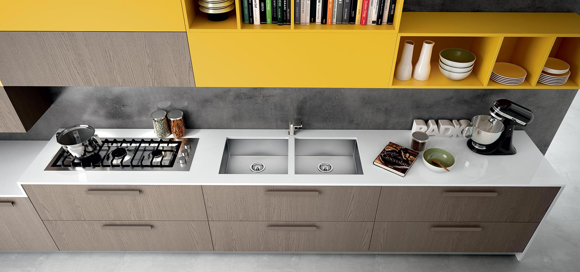 add accent units in vibrant yellow or hot orange for added 60's style…