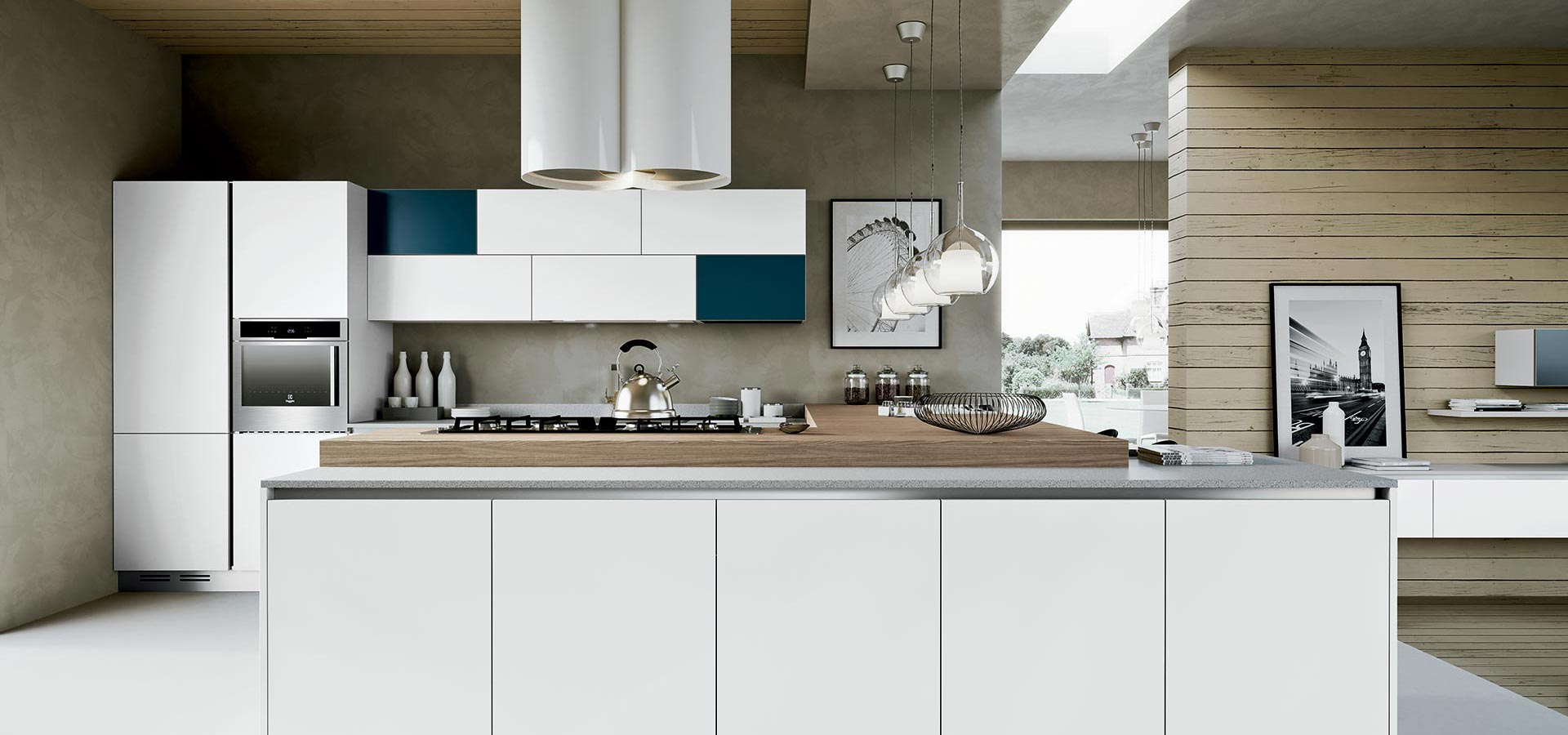 The eye-catching placement of two contrasting wall units creates real impact in this largely white kitchen.