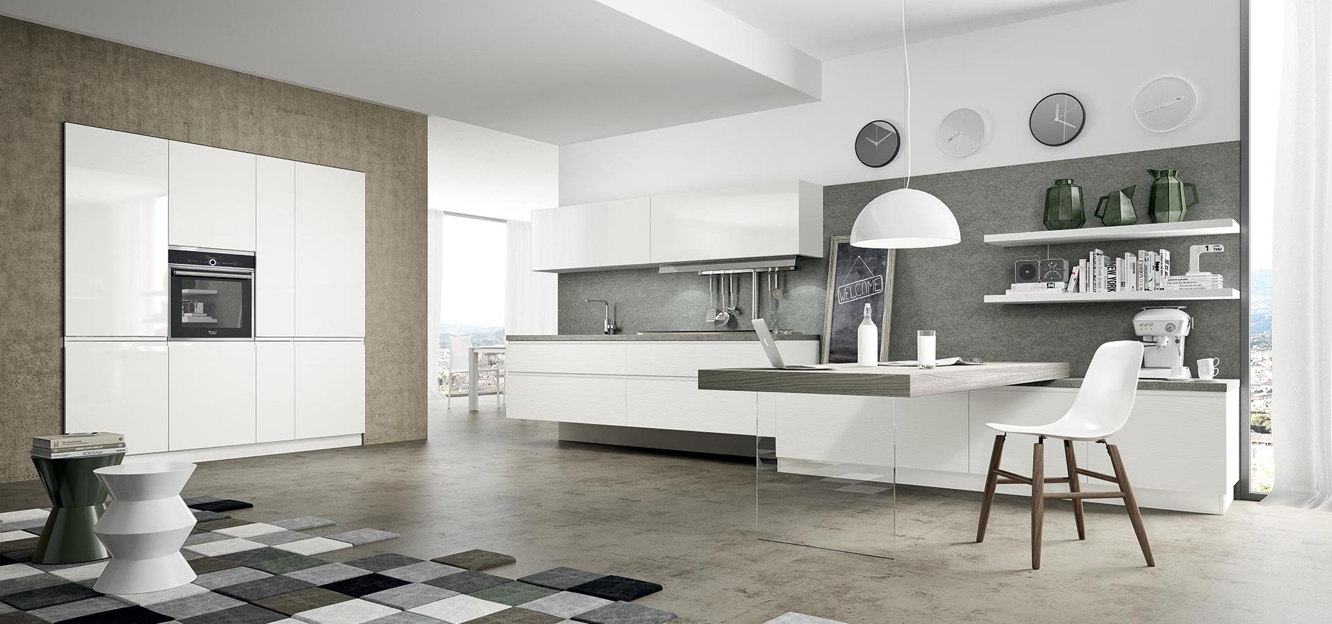 White kitchen furniture provides a perfect blank canvas for exciting and quirky accessories.