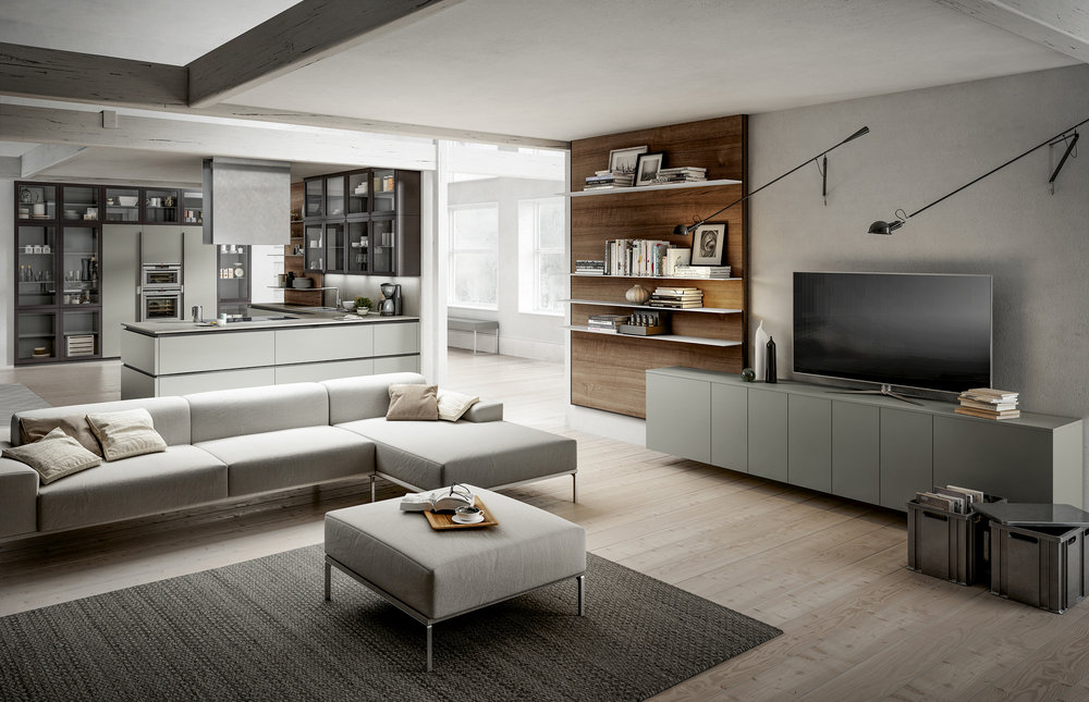 Achieve seamless stylish looks by choosing a colour theme that continues form room to room.