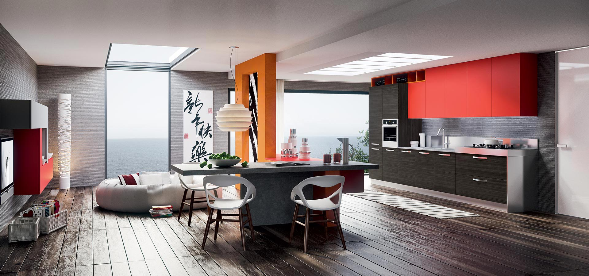 an accent colour and clever partitioning adds vibrancy to this oriental inspired kitchen.