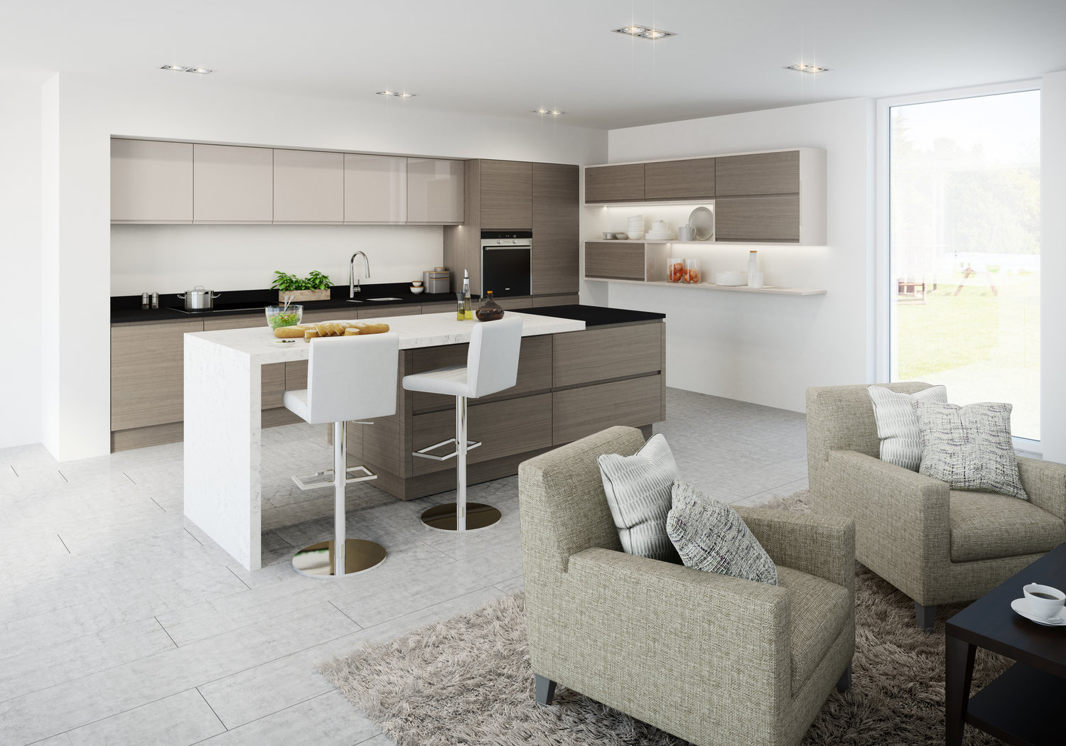 open plan living and dining can look sensational, even in less spacious kitchens.