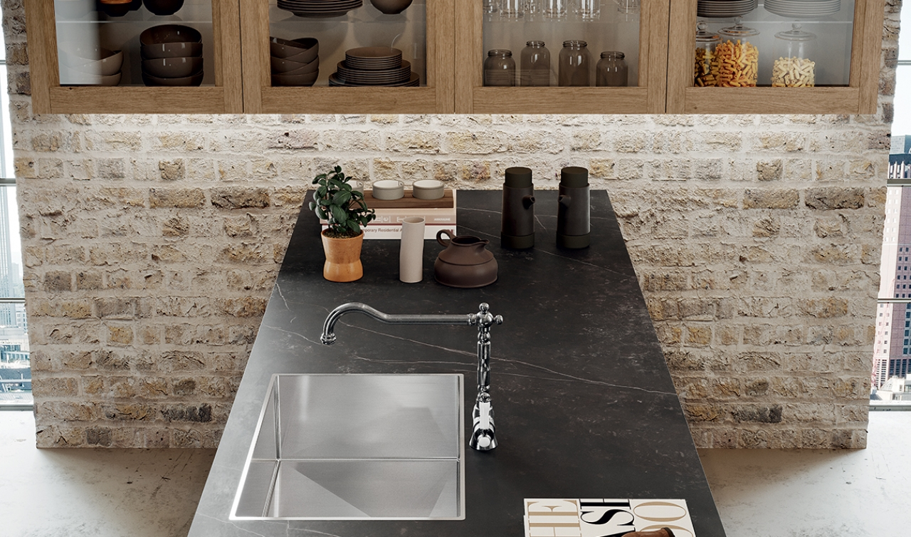 A stainless steel sink is both practical and modern.
