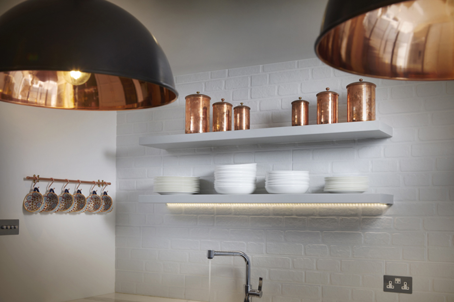 this warm accent shade will add a sophisticated glow to any kitchen.