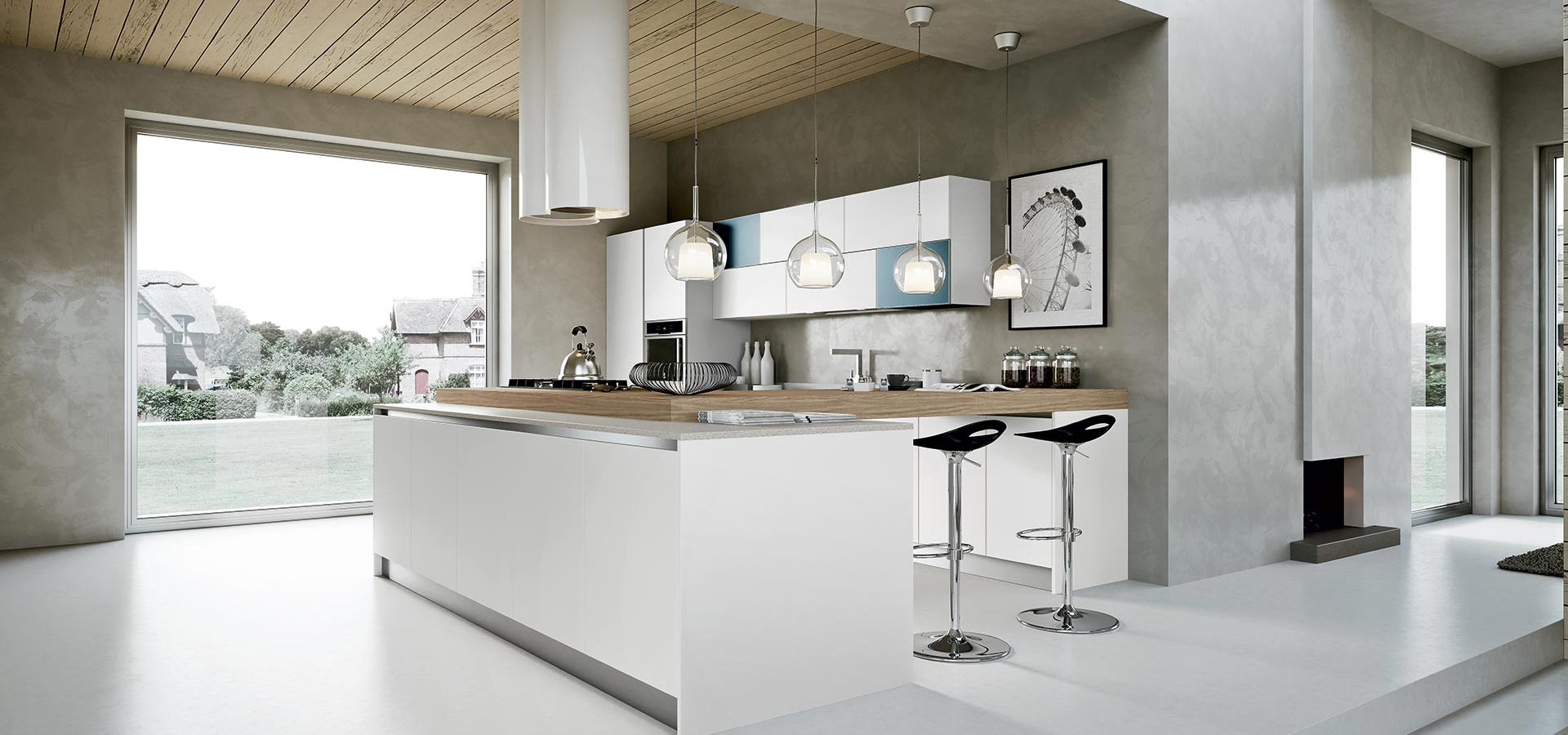 white kitchen units are totally stylish, especially when teamed with a striking handle detail.
