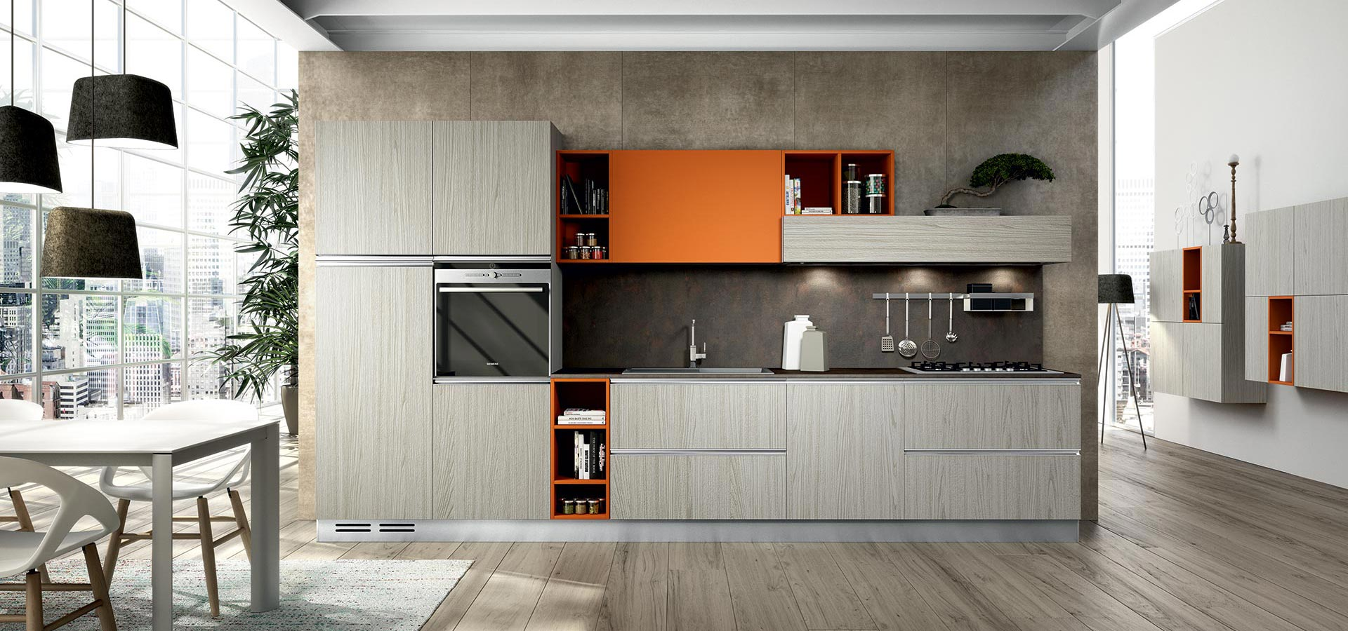 team a flat accent colour with woodgrain for dramatic looks.