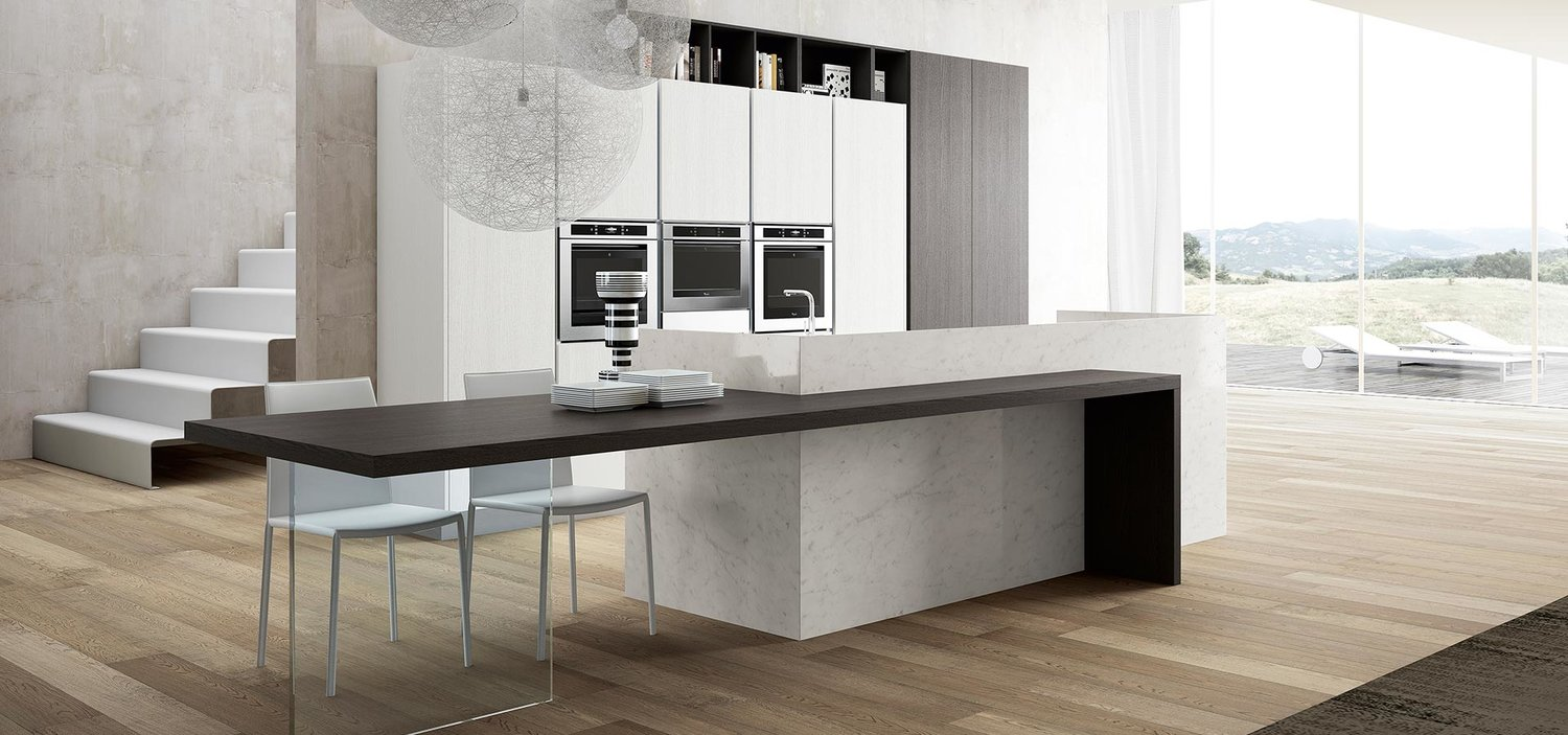 almost ying and yang, wenge and marble are the perfect complement to striking neutral units.