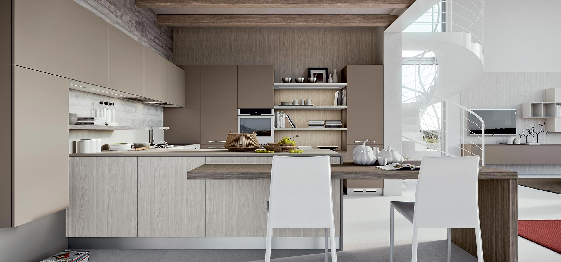 parchment or taupe will add warmth to a kitchen, especially when combined with woodgrain.