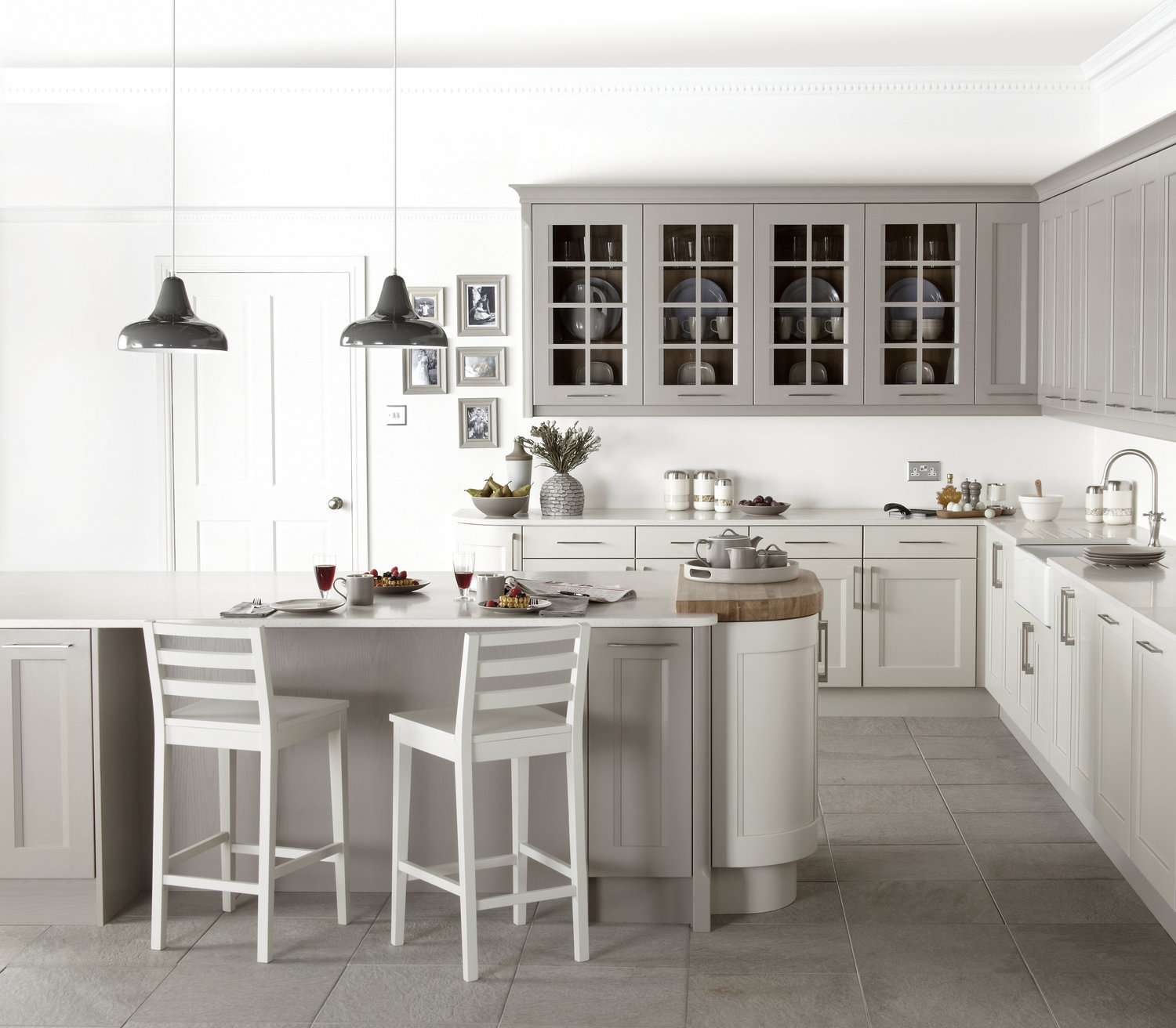stylish, yet sophisticated, opt for dove grey and off white kitchen units.