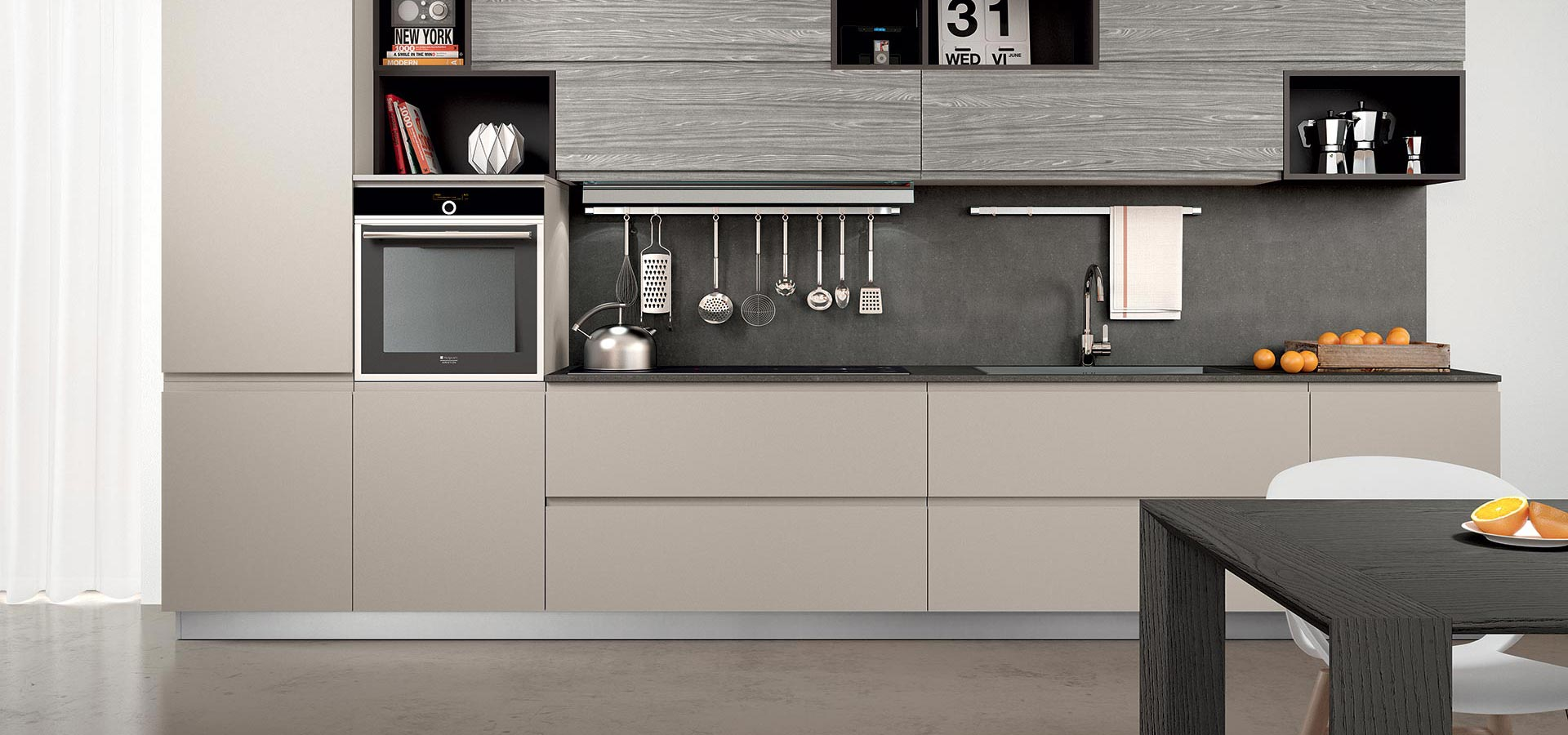 a slab door in a taupe grey shade offers contemporary minimal styling.