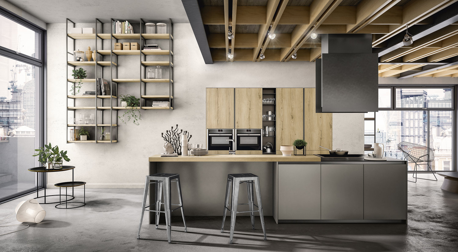 combine grey with woodgrain textures for warmth and visual harmony.