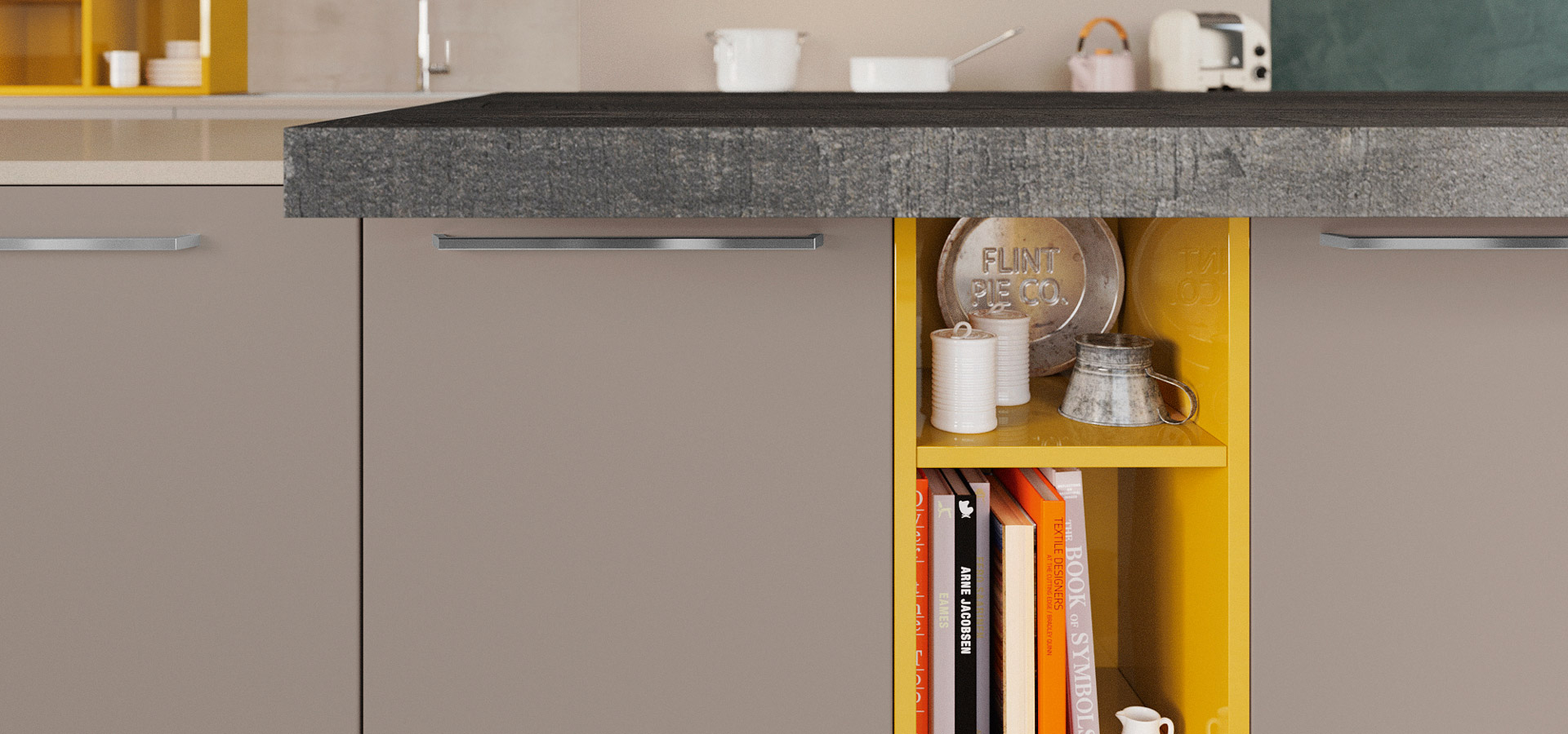 combine matte finishes, woodgrain, gloss accents and textured worksurfaces for chic style