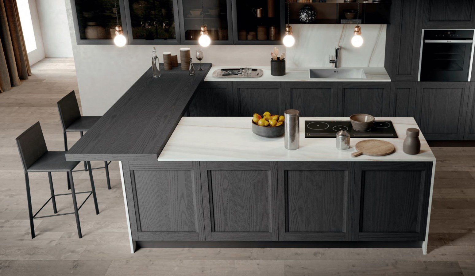 in deepest graphite grey, the frida range offers stylish, contemporary looks.
