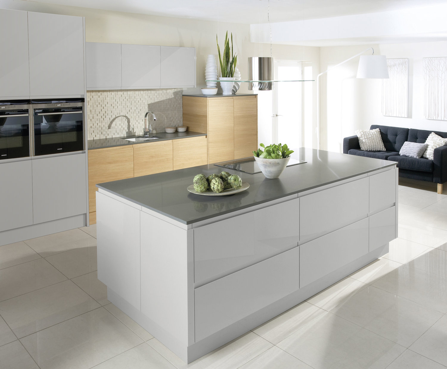 mix woodgrains with gloss or matte finishes to achieve contemporary looks.
