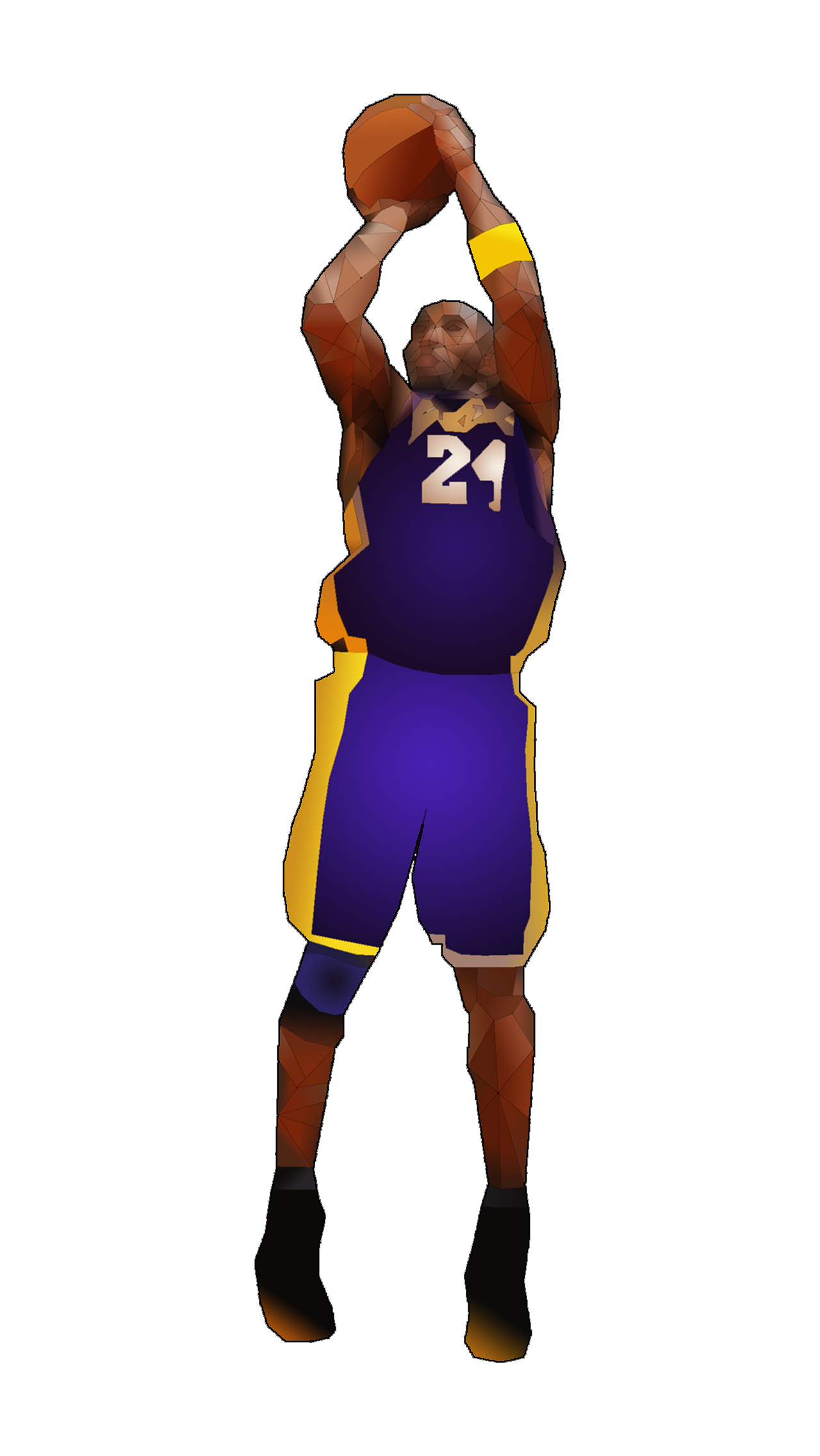 Low-poly render of Kobe Bryant made Summer '14 in Adobe Illustrator and Photoshop